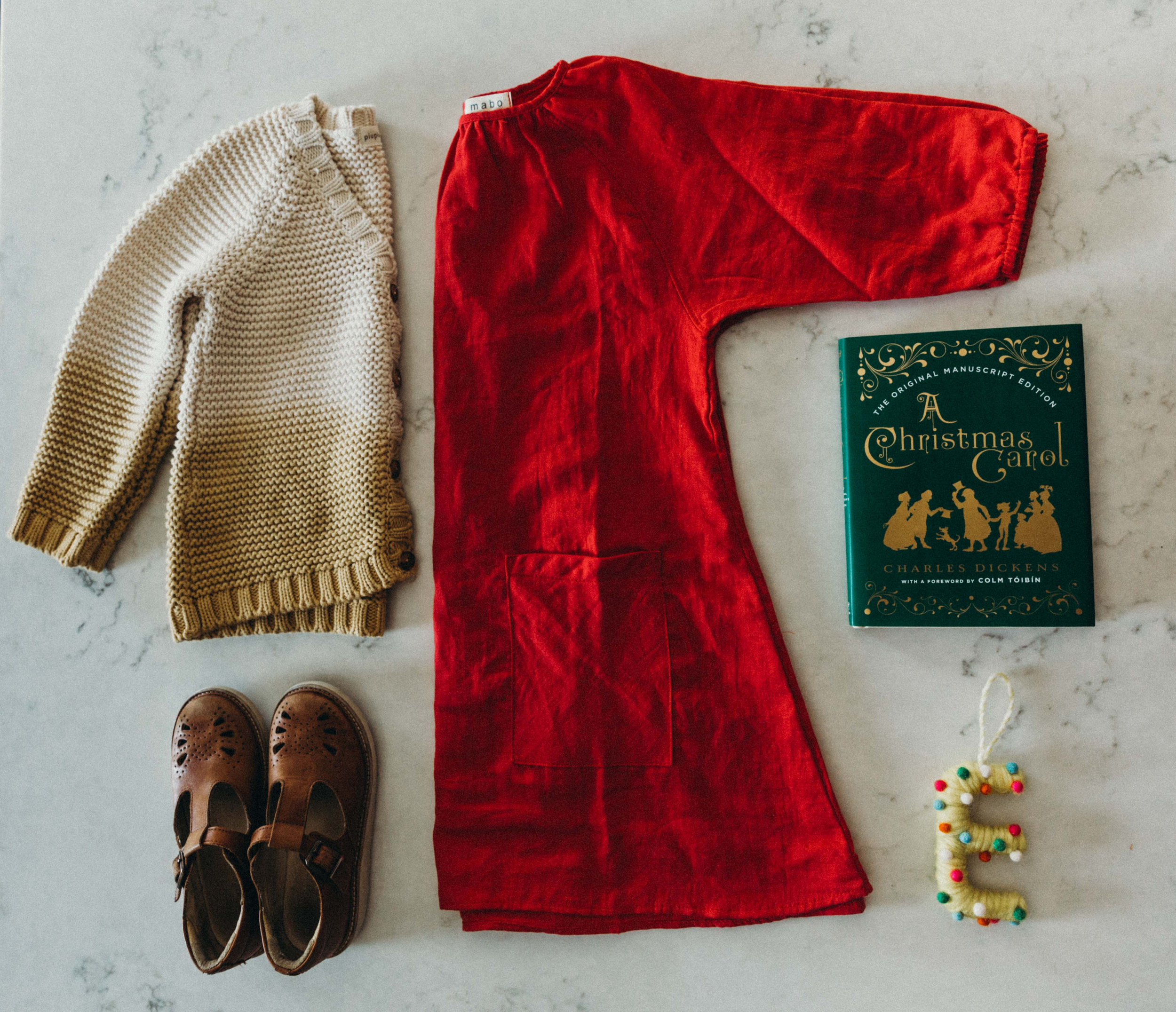Ellie's Christmas Eve splendor - the girl loves RED! Piupiuchick ombre cardigan (note, this runs big! this is a size 4y on my wears a size 8y kid!), Mabo Kids crimson gauze gemma dress, Young Soles London t-bars