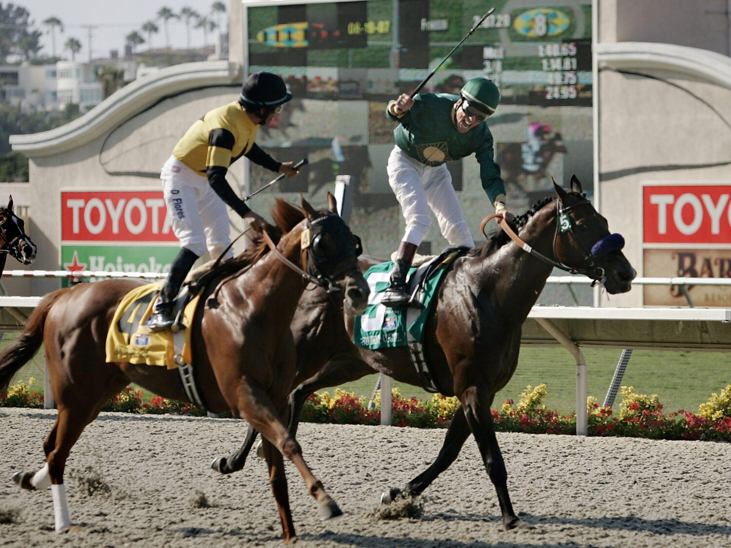 Richard winning the G1 Pacific Classic at Del Mar aboard Student Council.