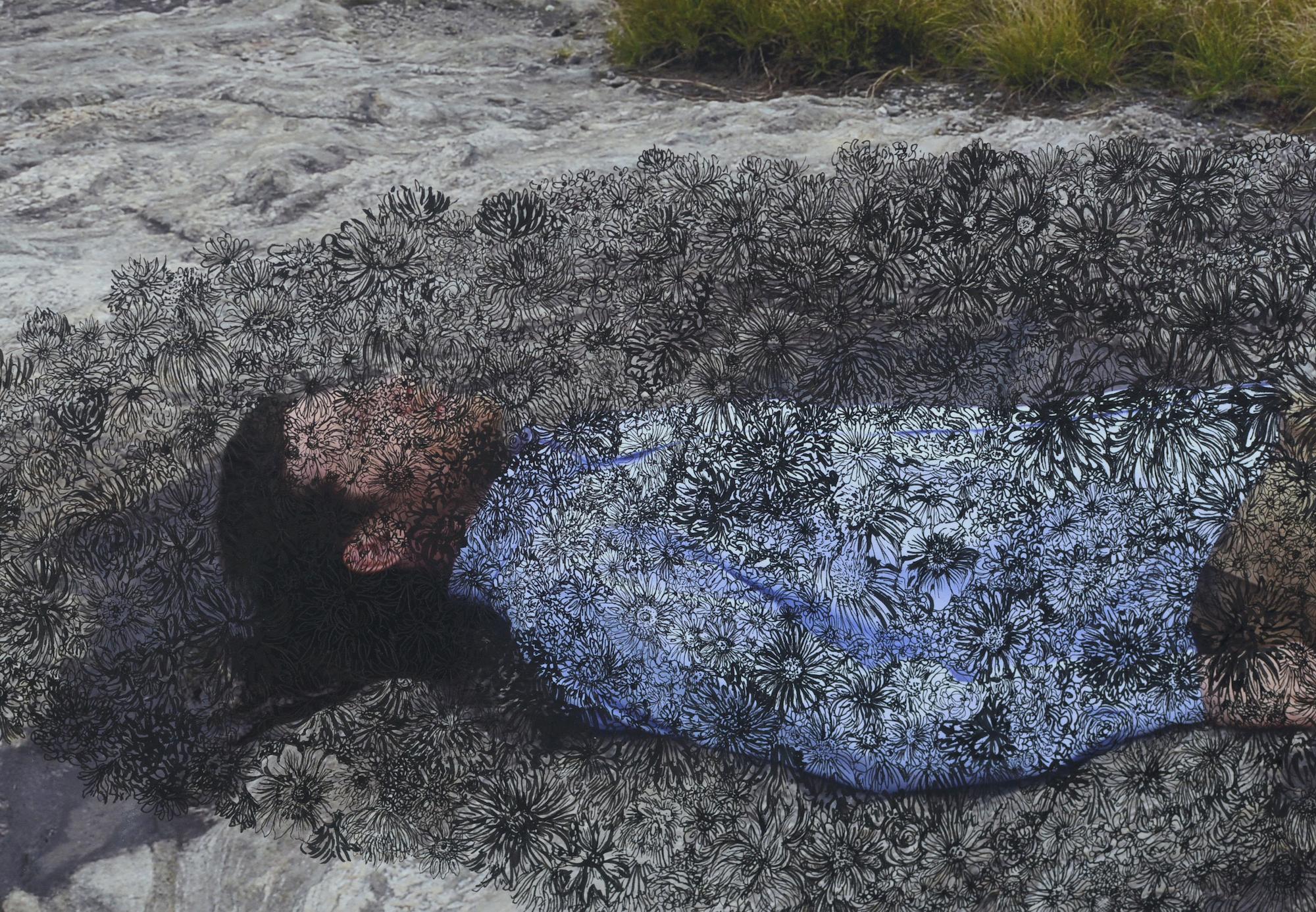 "Burying My Husband (detail) Ink on digital print, 2018, 29.5"" x 45"""
