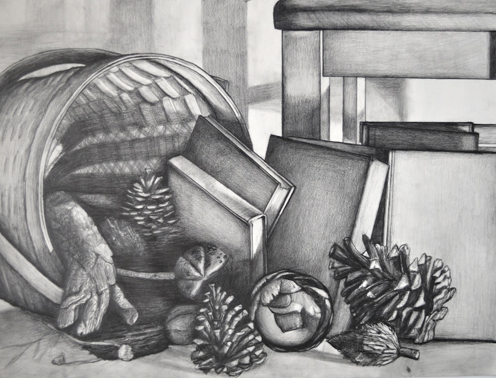 "Perceptual Drawing – Value and Light Still Life Drawing, Graphite, 18"" x 24"""