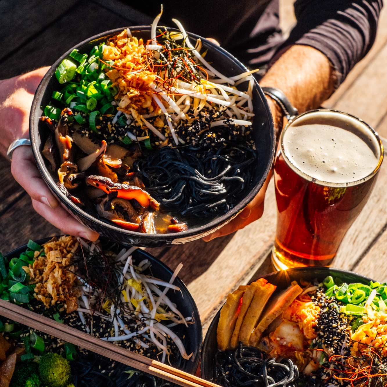 Free Charcoal noodle upgrade on our Chick'n white miso, Shiitake mushroom or Spicy kimchi bowls + a schooner of Rogers Amber Ale$20 - In-store only, every Friday!
