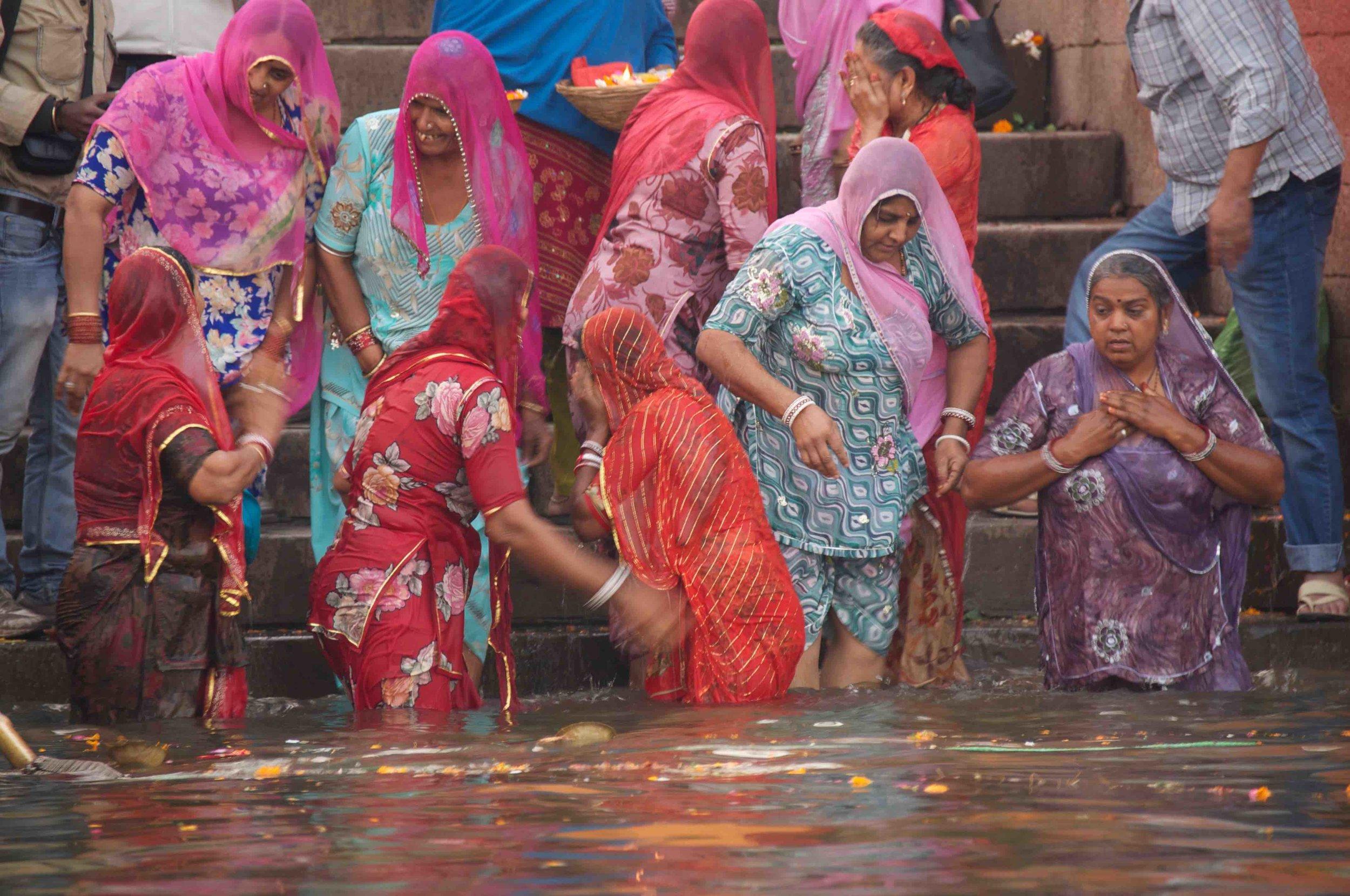 Kumbh Mela Bathing Women
