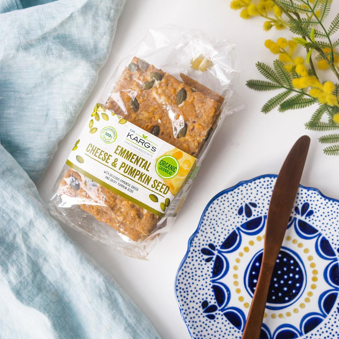 We love crackers that really support dip and don't crumble.  Dr Kargs Organic Cheese & Pumpkin crispbread  is the perfect choice for that.