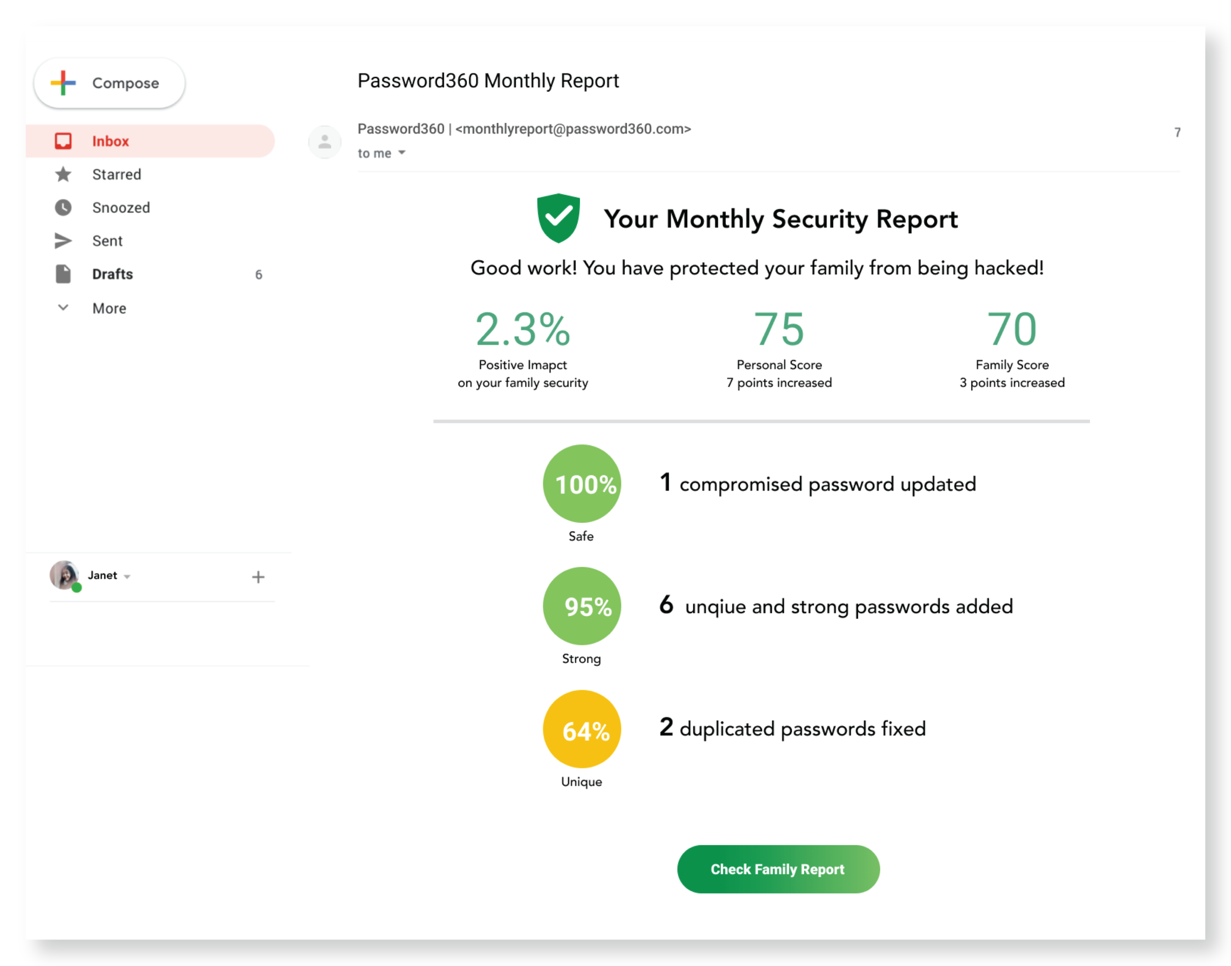 Receive a monthly security report by email on the status and changes in your personal and family security score