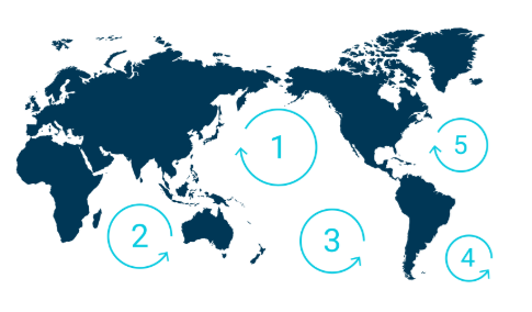 The World's 5 Great Garbage Patches - Image courtesy of The Ocean Cleanup