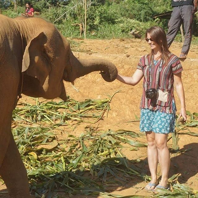 """Throwback Thursday - Probably my favorite adventure in Chiang Mai, Thailand, last year with #wifitribe, was visiting the Elephant Jungle Sanctuary 🐘🐘. The sanctuary takes care of retired work- and circus elephants and lets them interact with visitors.  There's no riding these elephants, and they're not forced to do tricks for the amusement of tourists. We fed them bananas for about 45 minutes, then the elephants wandered down to the mud hole, where we could take a mud bath with them. They soon wandered down to wash off in the river until they'd had enough and headed back up to their resting grounds.  I loved that the elephants got to choose how long they wanted to stay where. That day, they weren't really interested in the mud bath and headed almost straight for the river. Their mahouts didn't force them to stay for our sake, just so we could play in the mud with them more. We splashed around in the river with them instead. 🌊  There was no coercion; these gentle giants were allowed to decide their activities in their own time. After a life of being ridden - which is bad for their backs, and not just because they're usually still growing during the often brutal training - or made to pull and lift heavy loads, or doing tricks that are more often than not beaten into them, these elephants are now allowed a retirement in relative peace.  Not all elephant """"sanctuaries"""" in Thailand work this way. Some are more interested in turning a profit than the well-being of their elephants. As tourists, we can choose to support the ones that take good care of their animals - and I believe we should. ❤  Let's tread lightly upon this Earth. 🌎 • • • • • #mindfulnomadhacks #digitalnomadness #nomadhacks #tbt #throwbackthursday #chiangmai #thailand #elephantsanctuary #gentlegiants #loveelephants #mindfulnomad #bemindful #mindfulliving #mindfuleating #mindfullife #mindfulmoment #elephant  #gratitudes #gratitudejournal #gratitudedaily #gratitudeattitude #digitalnomadgirls #digitalnomadlife """