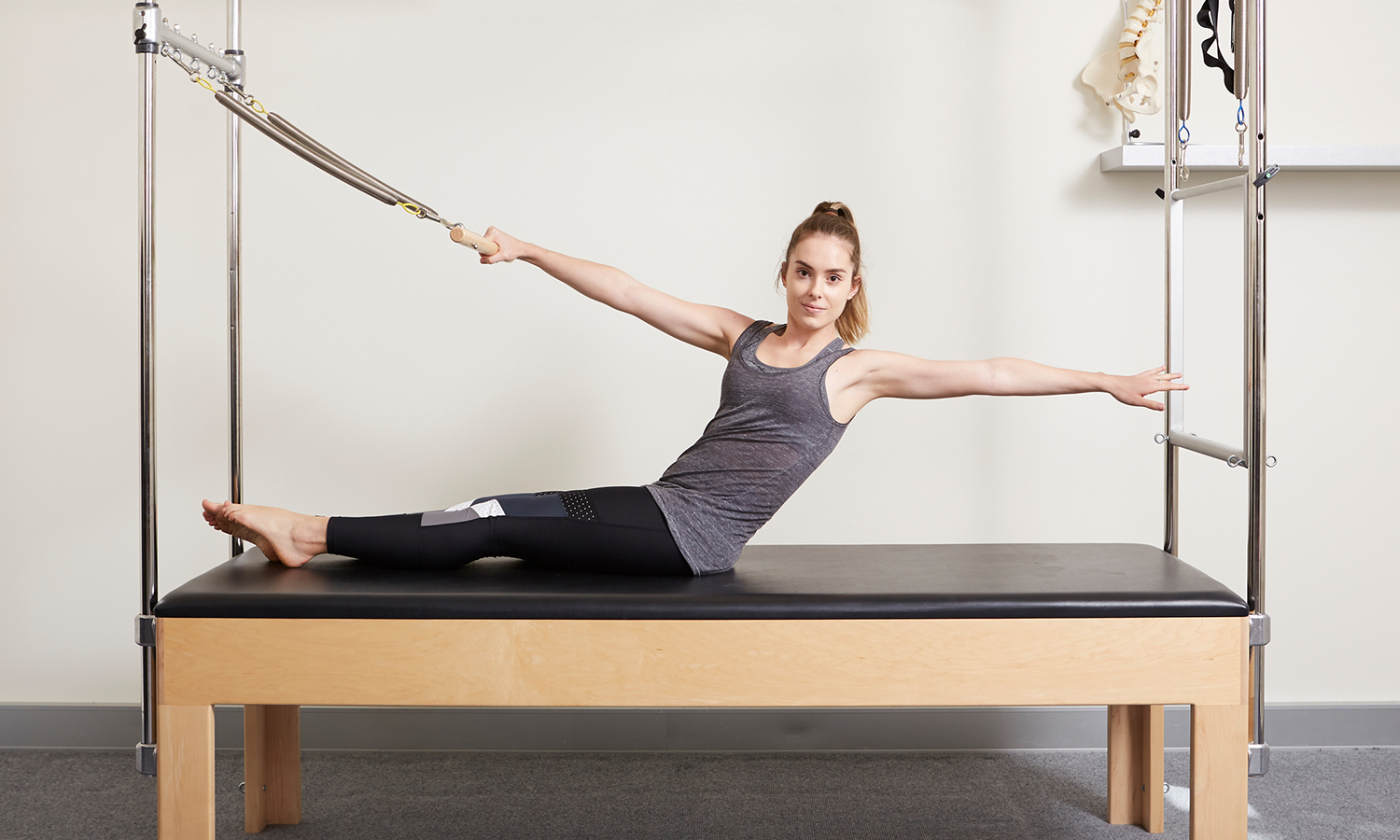 Pilates is a physical fitness system that comprises a system of low-impact exercises focusing on flexibility, control, strength and endurance. -