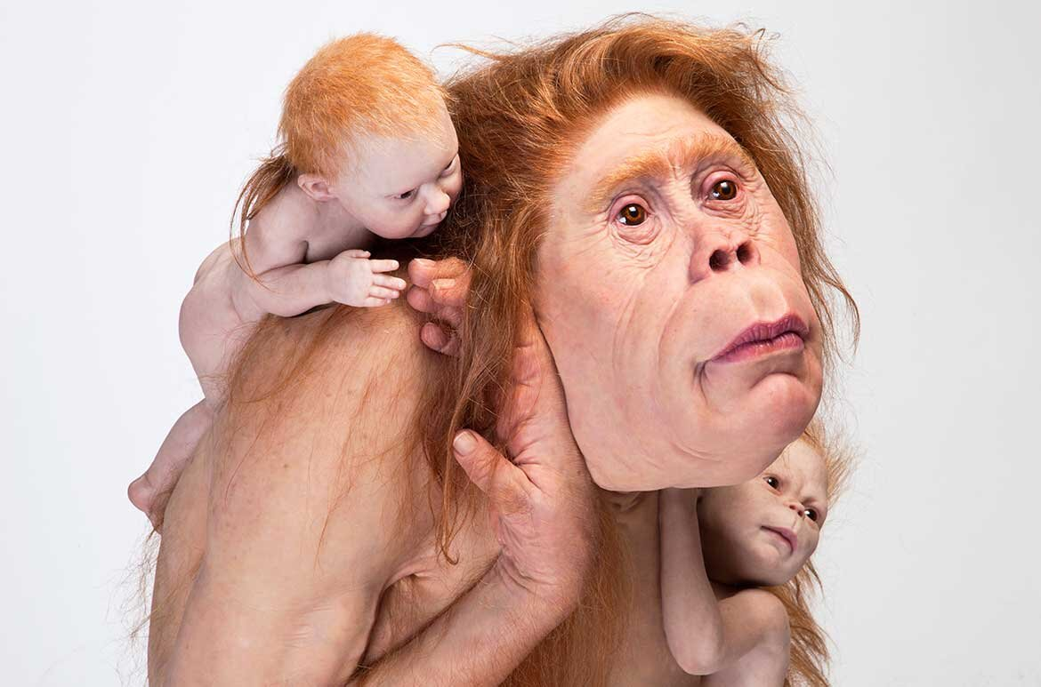 Kindred  by Patricia Piccinini, 2018, silicone, fibreglass, hair (103 x 95 x 128cm) (c) The artist