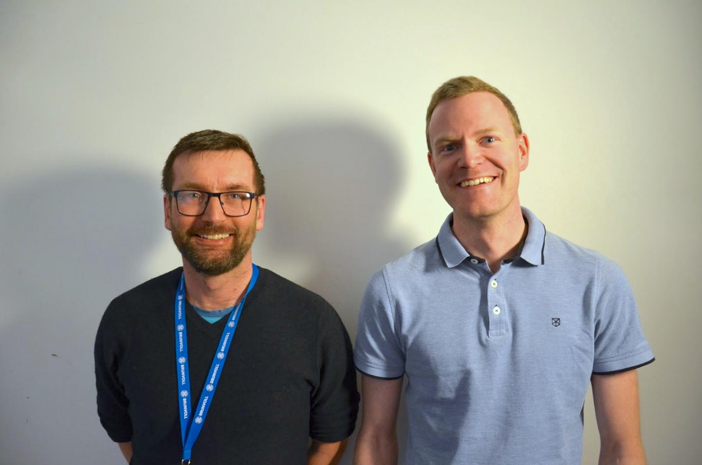 Applikasjonsdesigner Terje Lønset og elektroingeniør Espen Løkseth fra Brunvoll var godt fornøyde med kurset i maskinlæring.