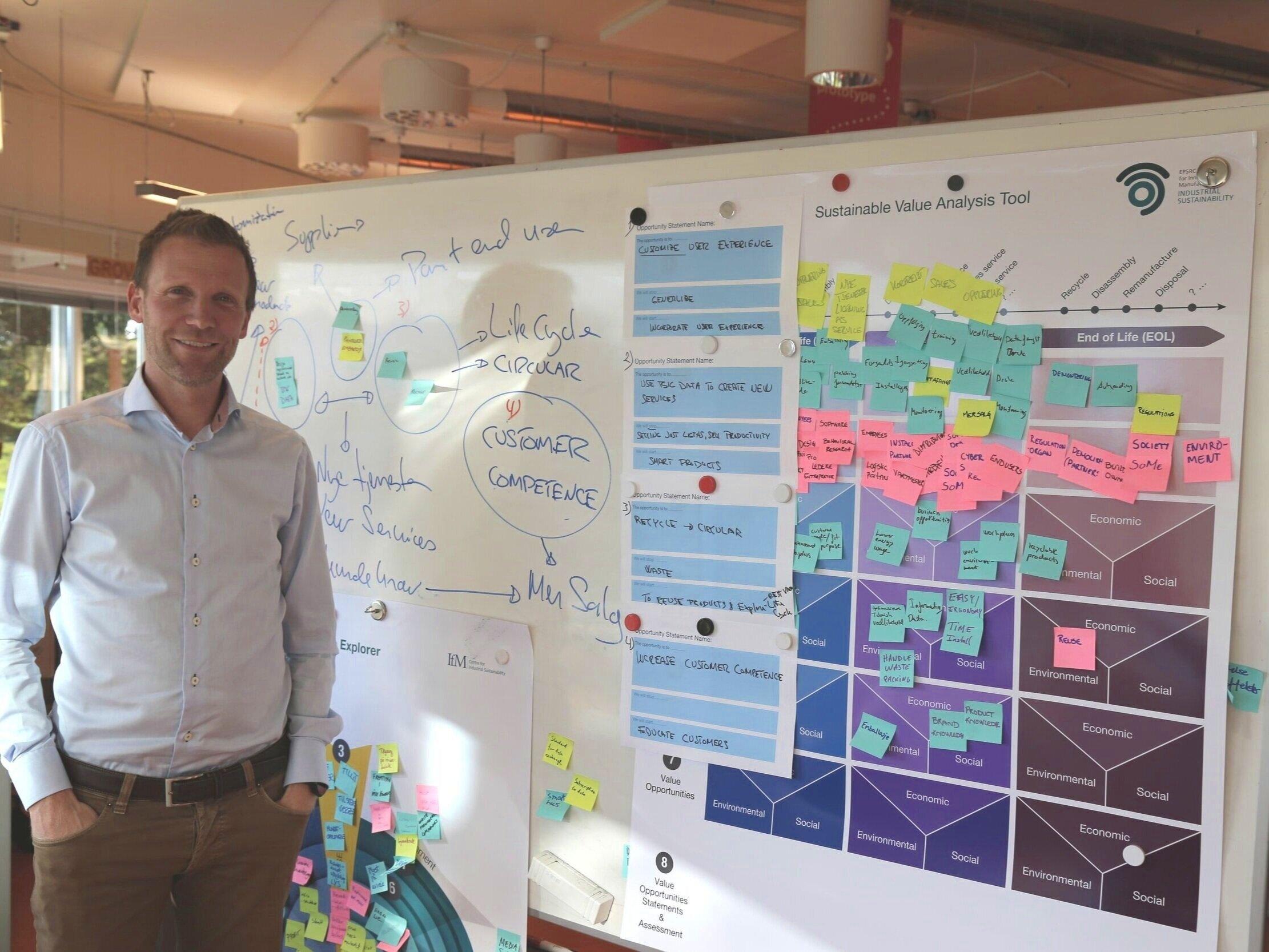 Birger Holo, fabrikksjef ved Glamox Molde foran tavla som oppsummerer to dager med fokus på bærekraftig verdiskapning.