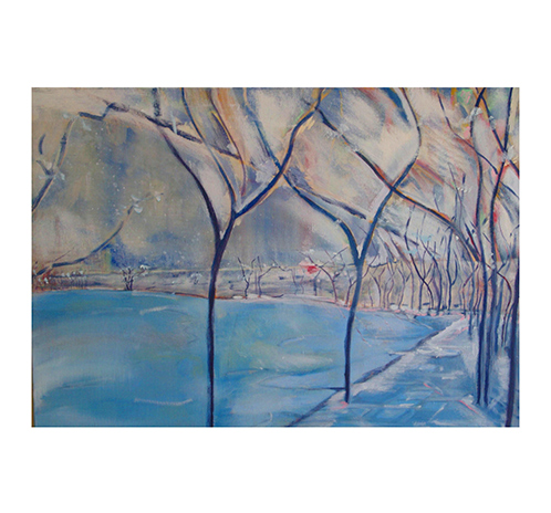 Winter Trees - blue