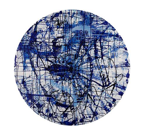 Circular graffiti – blue