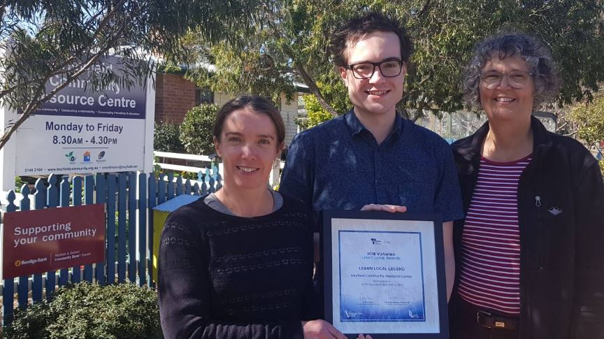 Heyfield Community Resource Centre coordinator Caroline Trevorrow, tutor Thomas Crosbie and Wellington Shire Mayor Carolyn Crossley with the Learn Local Award certificate.