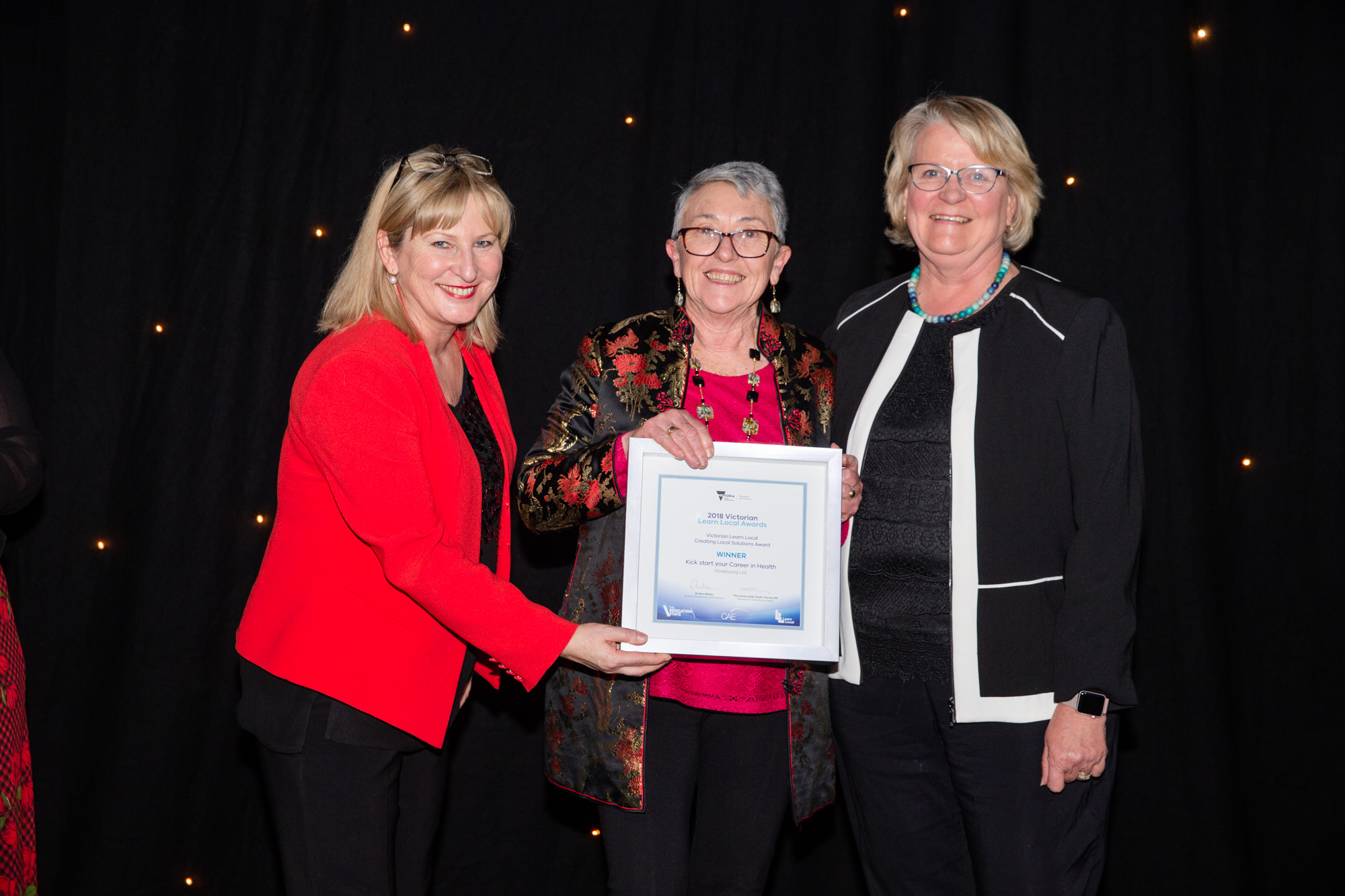 Winners at Victorian Learn Local Awards, Minister Gayle Tierney MP with Glenda McPhee and Josie Rose from Noweyung Learn Local