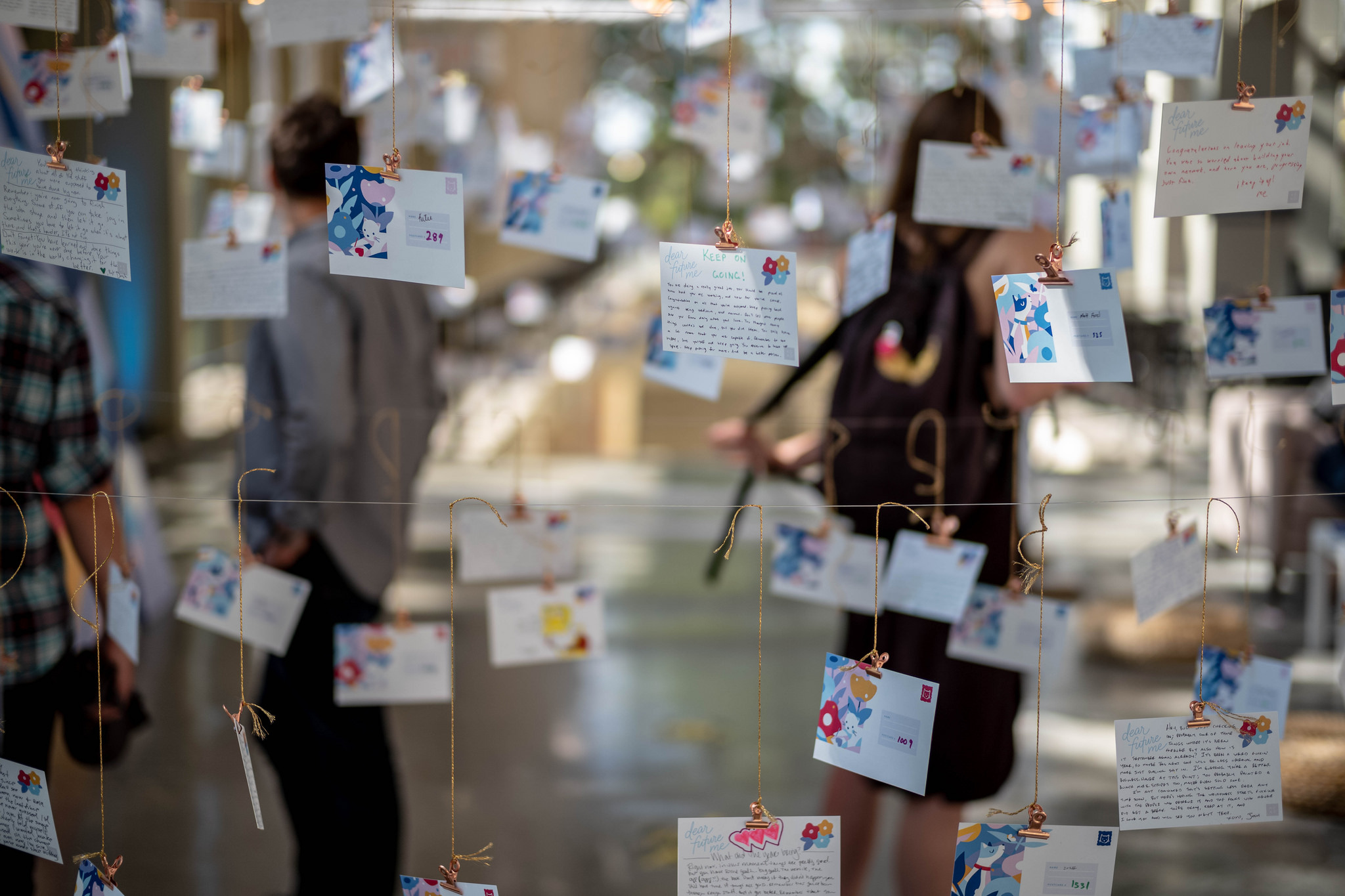 Letters to future selves, to be sent to people next year. Art installation by Alice Lee. Image credit:    Tom Coates