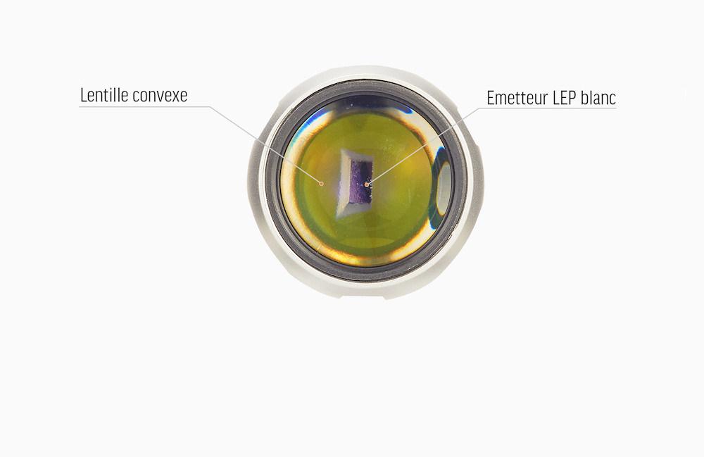 Émetteur Laser LEP - L'Acebeam LEP W10 est équipée d'un émetteur Laser et d'une lentille convexe - cet équipement spécial lui permet de produire un faisceau lumineux portant jusqu'à 1 000 mètres !