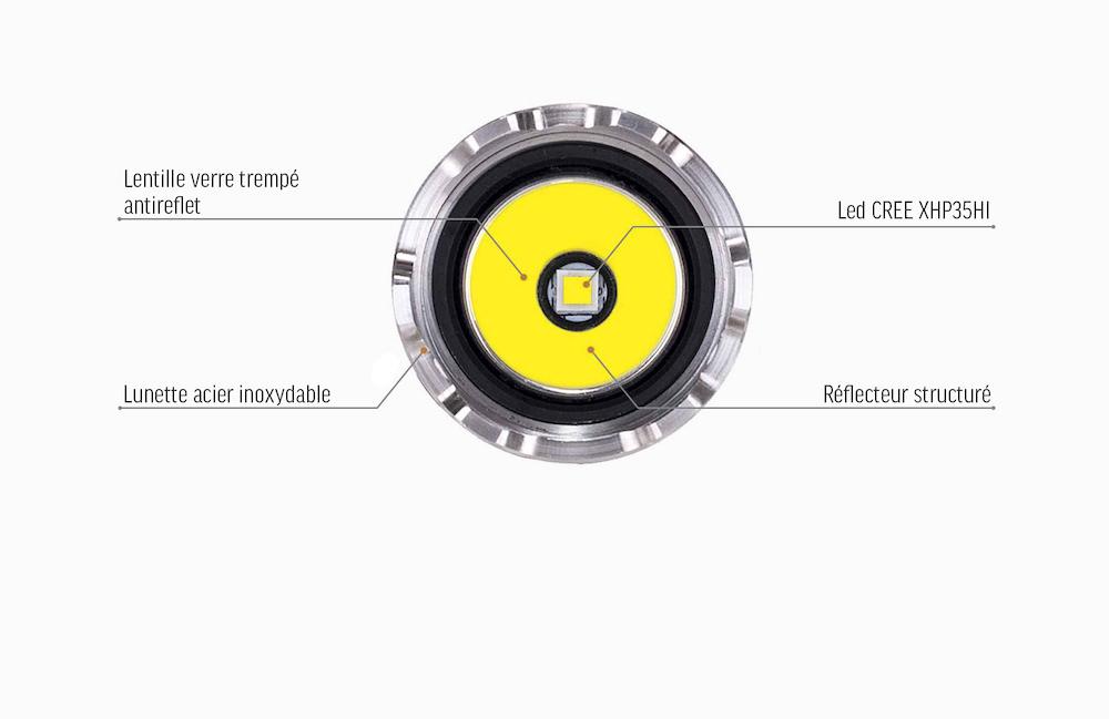 Led CREE XPH35 - L'Acebeam T36 est équipée de l'émetteur CREE XPH35 Son faisceau lumineux longue portée produit un niveau max de 2 000 lumensPortée de 330 mètres max