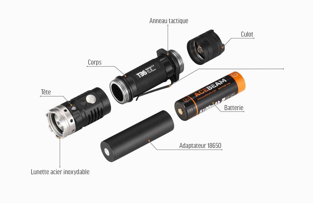 Conception intelligente - L'Acebeam T36 est un outil tactique conçu pour durer. Une conception en 3 parties, en aluminium qualité aéronautique anodisé dur type III