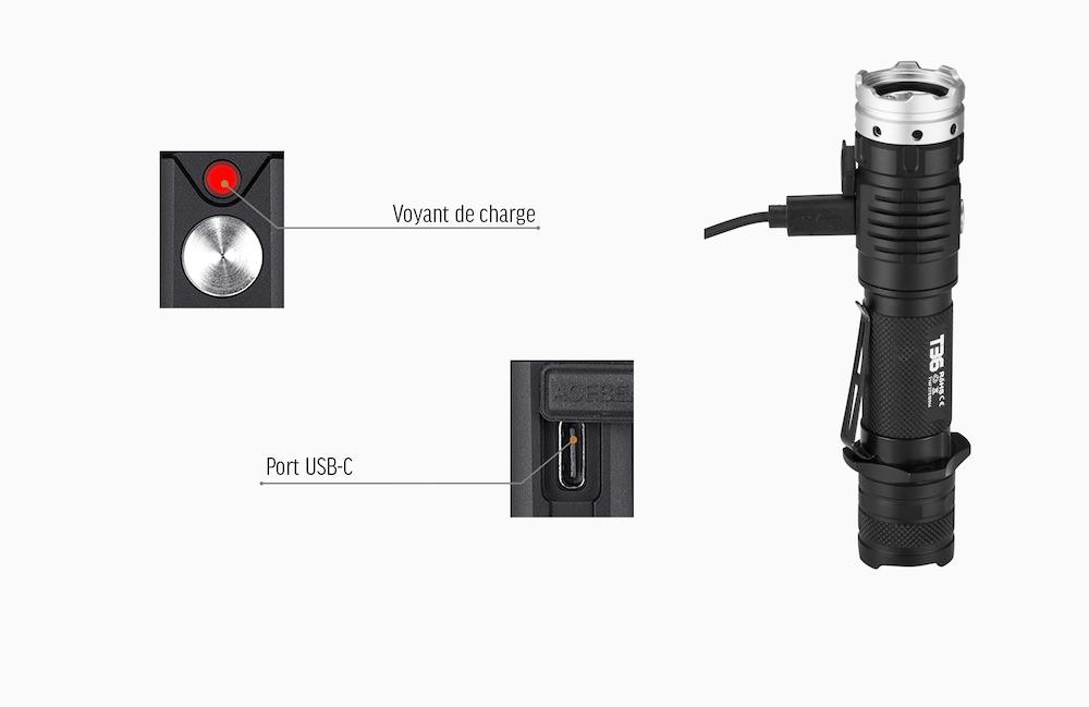 Port USB-C - Le port USB-C dont est équipé la T36 est un port haute intensité pour une recharge plus rapideUn voyant indique l'état de charge