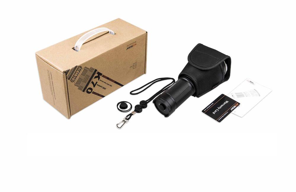 Contenu de l'emballage - Lampe K70Étui de transportDragonneManuel d'utilisation et carte de garantieJoints toriques de rechange