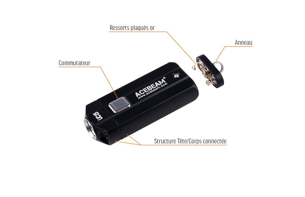 Conception intelligente - Commutateur caoutchoucCorps solide en aluminium anodiséRessorts de batteries plaqués orAnneau pour porte clés