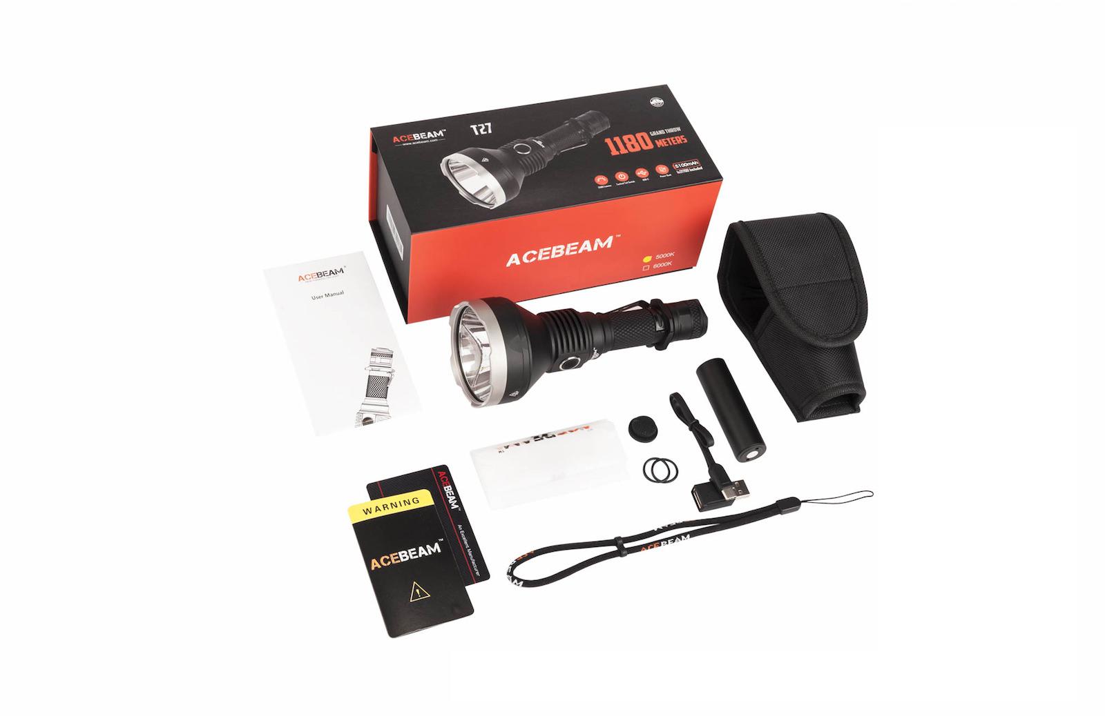 Contenu de l'emballage - Lampe T27Câble de charge USB-CDragonneÉtui de transportMode d'emploiCarte de garantieJoints torique de rechange