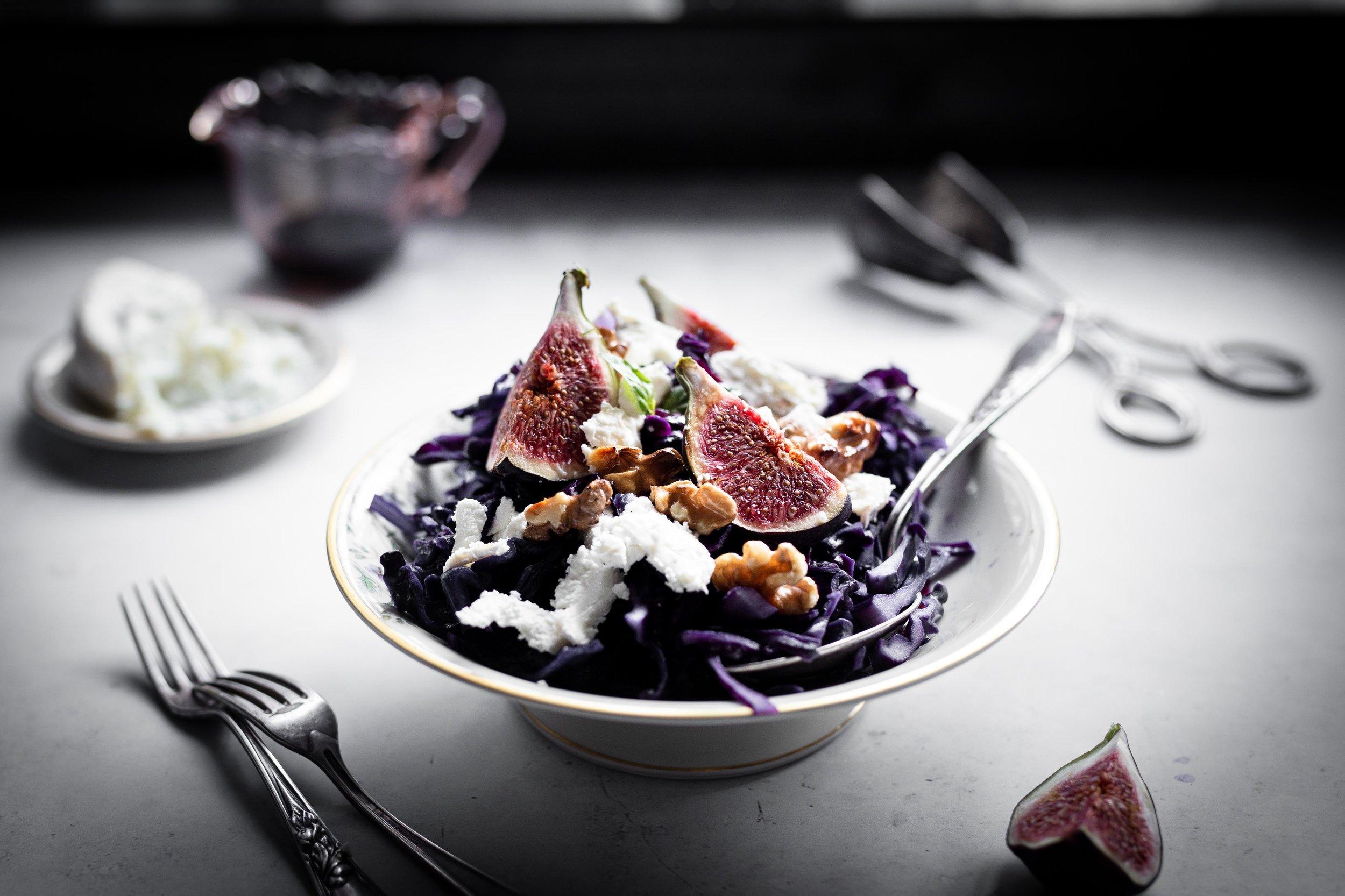 Rotkohl Salat Feige Ziegenkäse Foodstyling