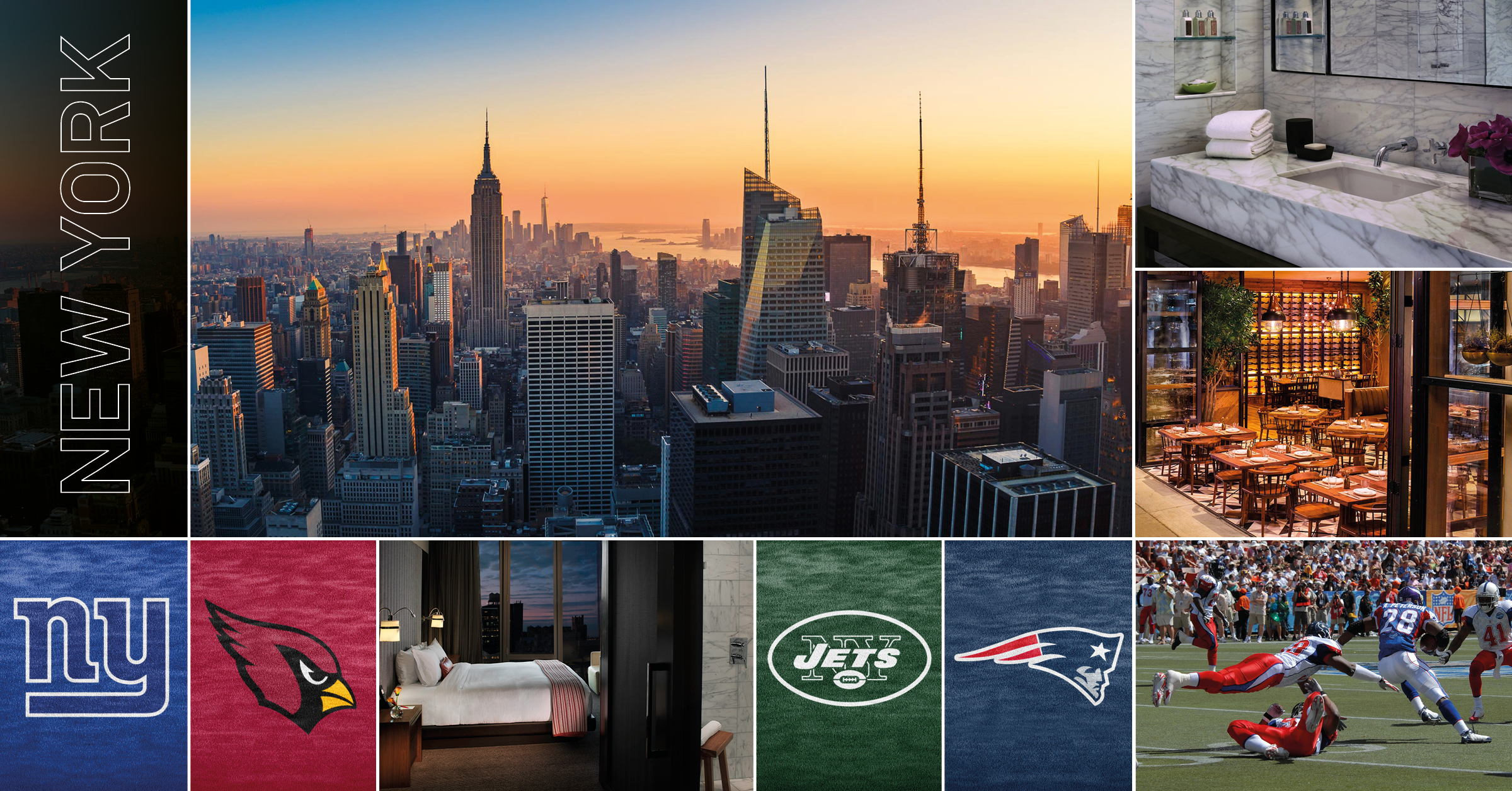 NFL-resa New York - 18 - 22 oktober går resan till staden som aldrig sover, New York. Bo fyra nätter på lyxhotellet Kimpton Hotel Eventi. Två NFL-matcher på två dagar. Giants - Arizona och New York Jets - New England Patriots.