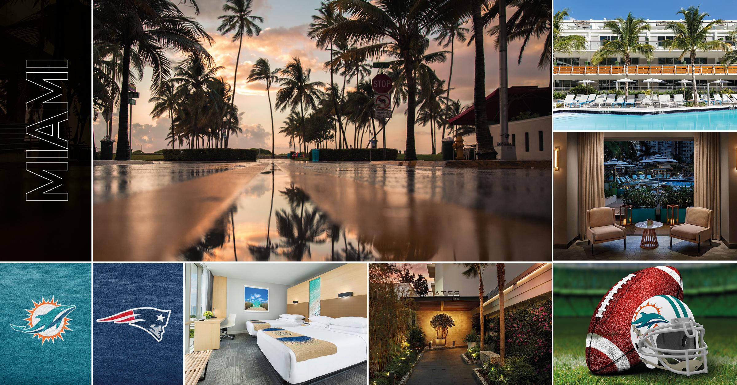 Aktuell sportresaNFL-resa till Miami - 12 - 17 september tar Supreme Travel med dig till enastående Miami - och till ett fantastiskt pris. The Gates Hotel ligger mitt på otroliga South Beach. Drömmötet från NFL Miami Dolphins mot New England Patriots. Just nu boka-tidigt pris.