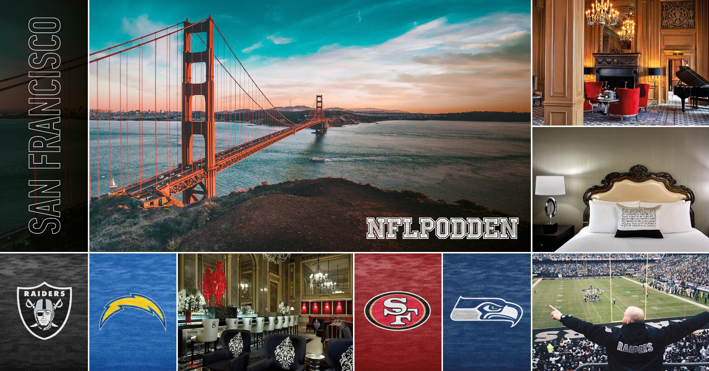Aktuell sportresaNFL - San Francisco - 6-12 november tar NFL-podden och Supreme Travel oss till fantastiska San Francisco. Två NFL-matcher ingår med fyra klassiska lag där rivalmötet Raiders - Chargers är resans första höjdpunkt. Den andra matchen spelas på nya Levi's Stadium som tar 68 500 personer mellan 49ers och Seahawks.