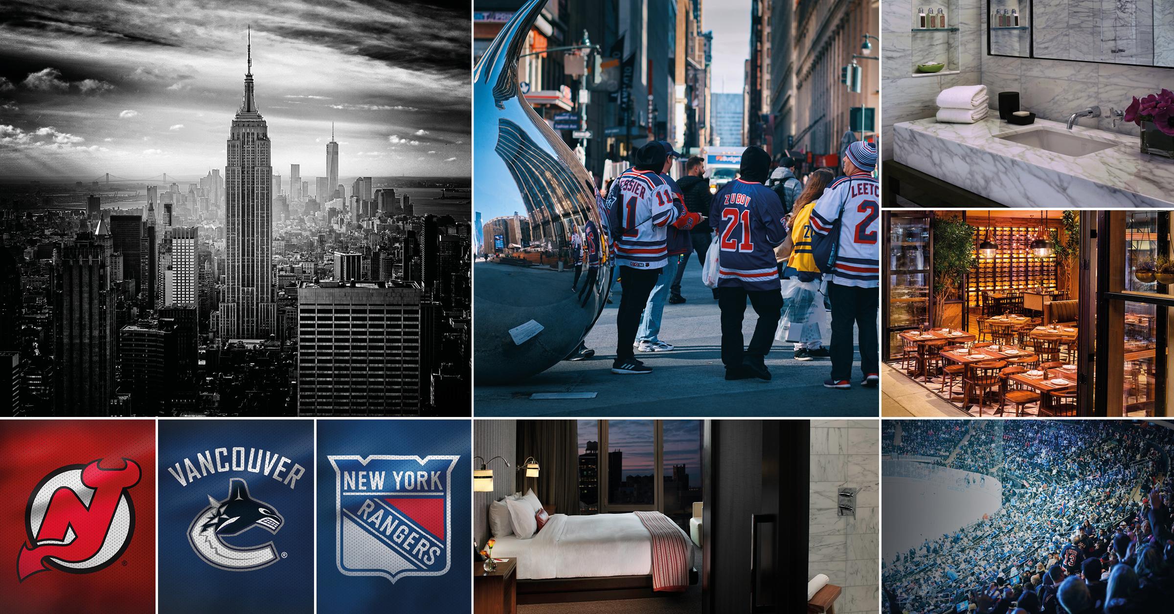 NHL-resa New York18-23 oktober - Den här resan till New York vill du inte missa där du under dina fyra nätter bor helt fantastiskt på Manhattan och lyxhotellet Kimpton Hotel Eventi. Under din resa till New York får du också bevittna två NHL matcher med New Jersey Devils, New York Rangers och Vancouver Canucks. Även NFL är möjligt att inkludera.