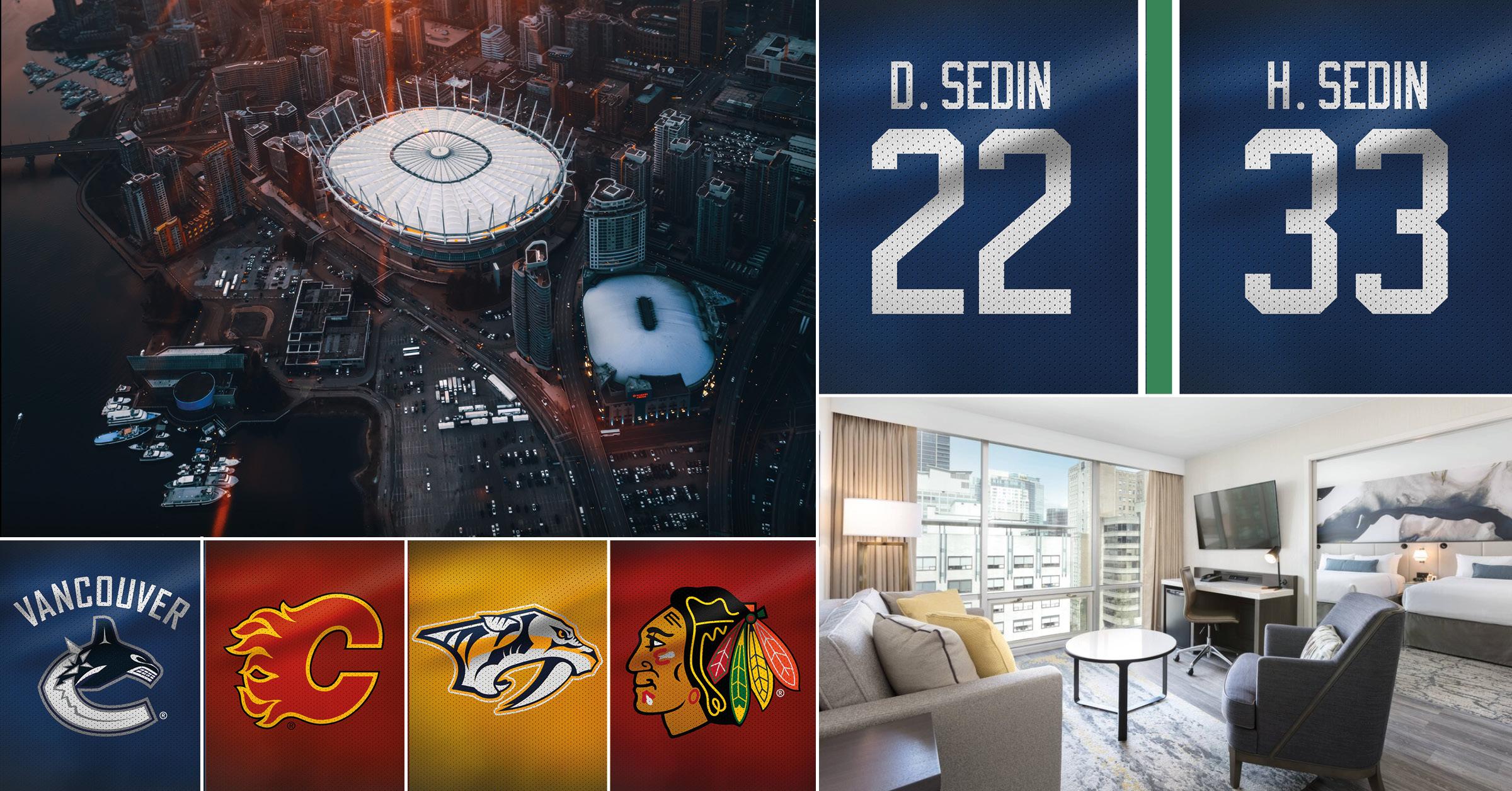 NHL-resa Vancouver7-14 februari 2020 - Följ med på NHL-resa till natursköna Vancouver i Kanada. Tre matcher från världens bästa liga väntar och under den sista av dem får uppleva något unikt - bröderna Henrik och Daniel Sedins tröjhissning till taket i Rogers Arena. Paketresa med 6 nätter hotell centralt i Vancouver, stadsrundtur och inte minst matchbiljetter på nedre nivå.