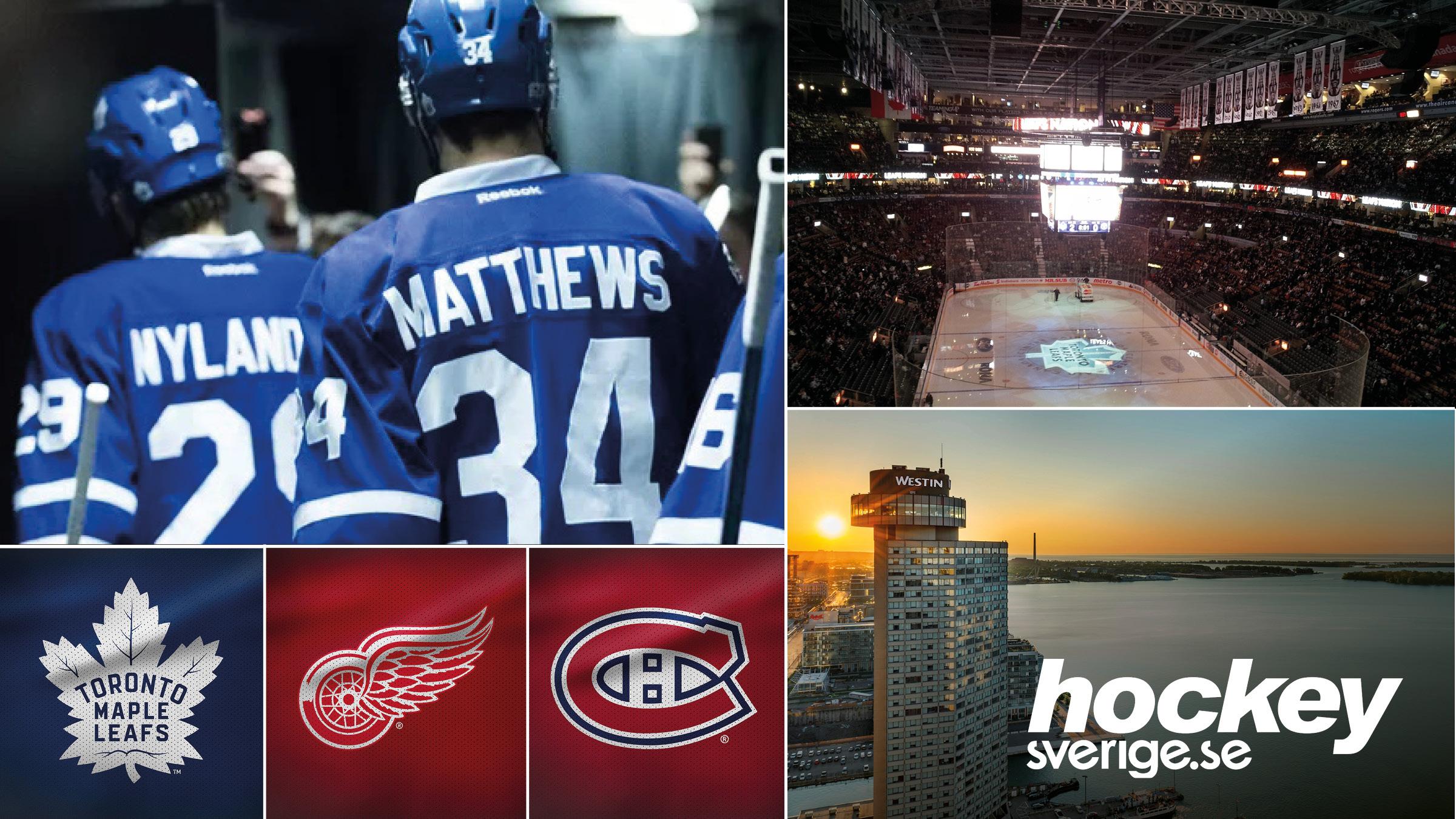 NHL-resa till Torontomed Hockeysverige - 1-6 april 2020 | Nu har du möjlighet att följa med på en oförglömlig hockeyresa till Toronto. Under resan till Toronto kommer du att få uppleva två matcher i Scotiabank Arena, grundseriens två sista matcher mot Detroit Red Wings och derbyt mot rivalen Montreal Canadiens. På fyrstjärniga The Westin Harbour Hotel lär du trivas under vistelsen.