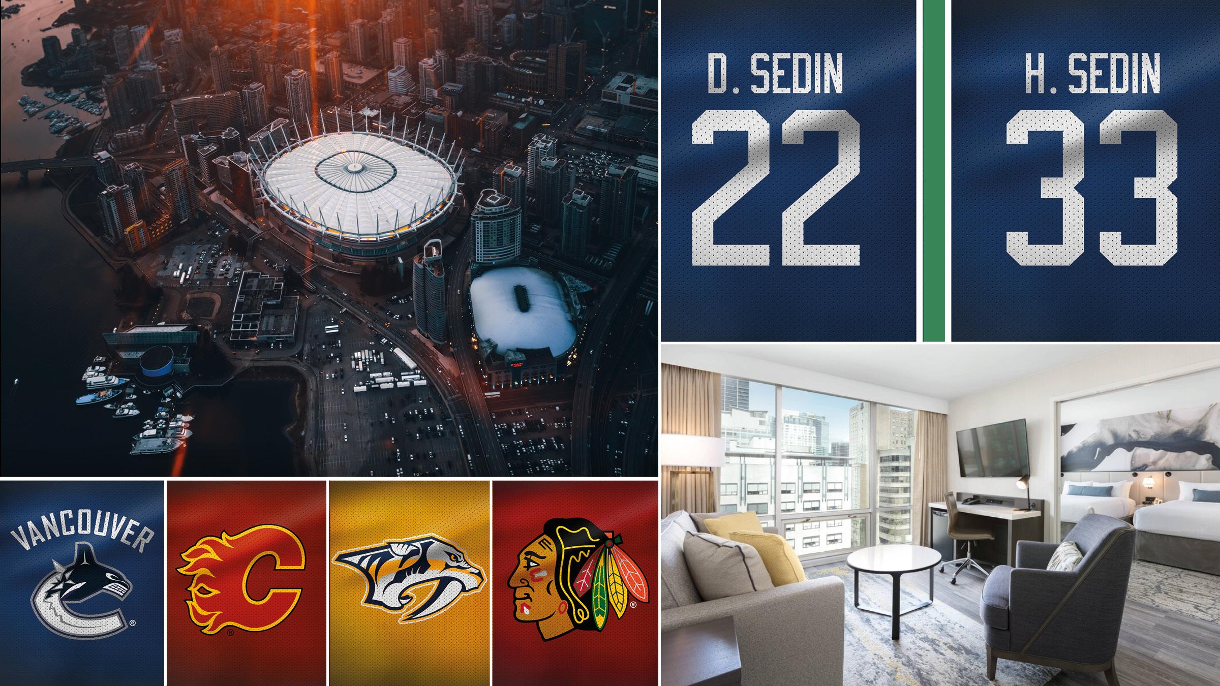 NHL-resa Vancouver - Sedins tröjhissning - 7-14 februari 2020 | Följ med på NHL-resa till natursköna Vancouver i Kanada. Tre matcher från världens bästa liga väntar och under den sista av dem får uppleva något unikt - bröderna Henrik och Daniel Sedins tröjhissning till taket i Rogers Arena. Paketresa med 6 nätter hotell centralt i Vancouver, stadsrundtur och inte minst matchbiljetter på nedre nivå.
