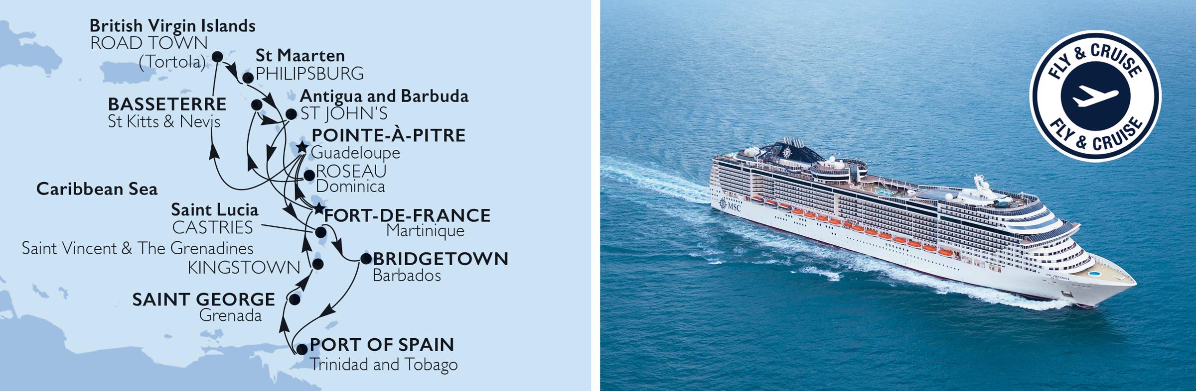 MSC Cruises erbjuder  fram till 20 oktober 2019  en otrolig kampanj. På den här kryssningen med avreseperioden 7 december 2019 till 21 mars 2020 från Fort-de-France upplever du under 14 nätters kryssning med MSC Preziosa 12 paradisöar i vackra Västindien och Antillerna. I kampanjen ingår flyg t/r, transfer till fartyget t/r, kryssning med helpension, all inclusive dryckespaket Easy och Wifi premium. Pris från 21 399 kr per person.