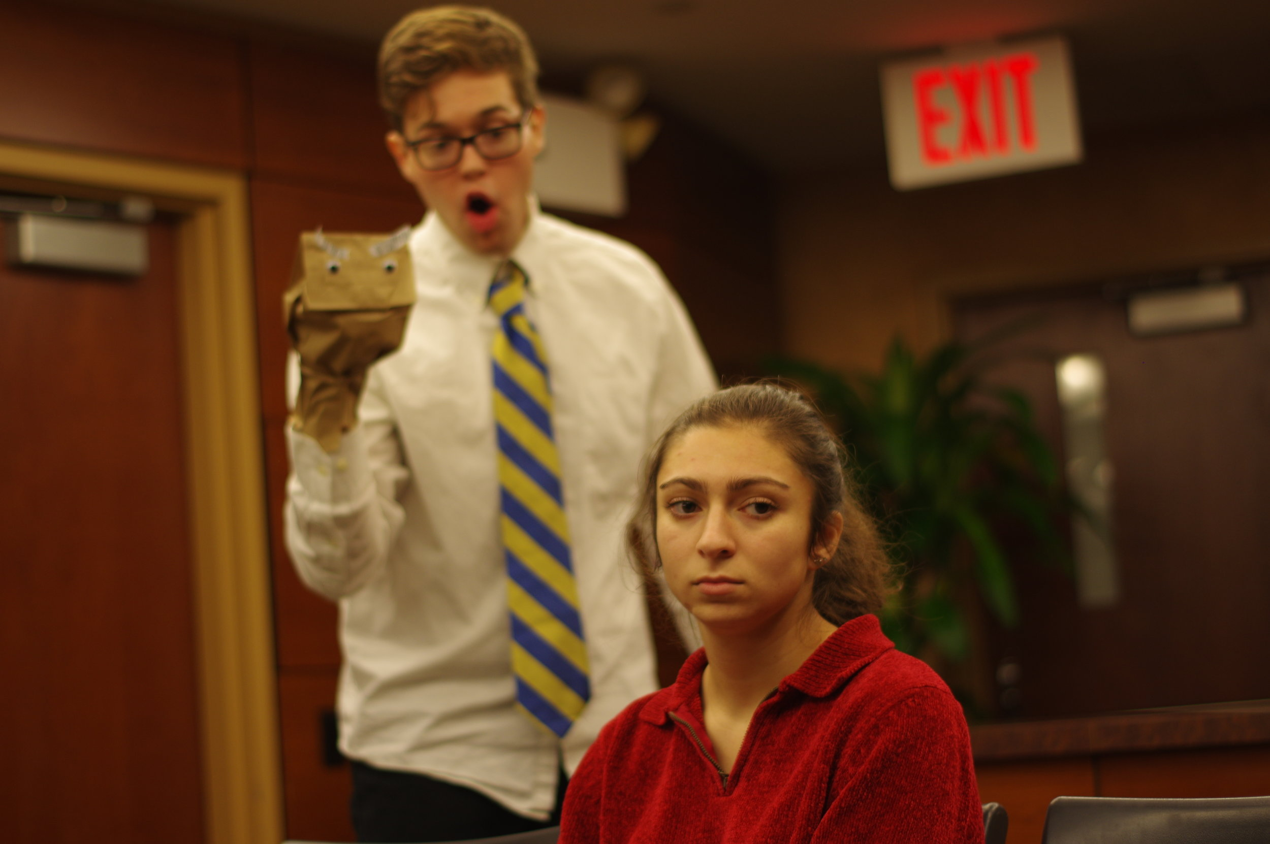 "(L to R) Nick Spink and Sydney Rutigliano in ""Mom, I Want to Be a Chemist"" by Ryan Cook, Derek Crosby, and Jack McManus."