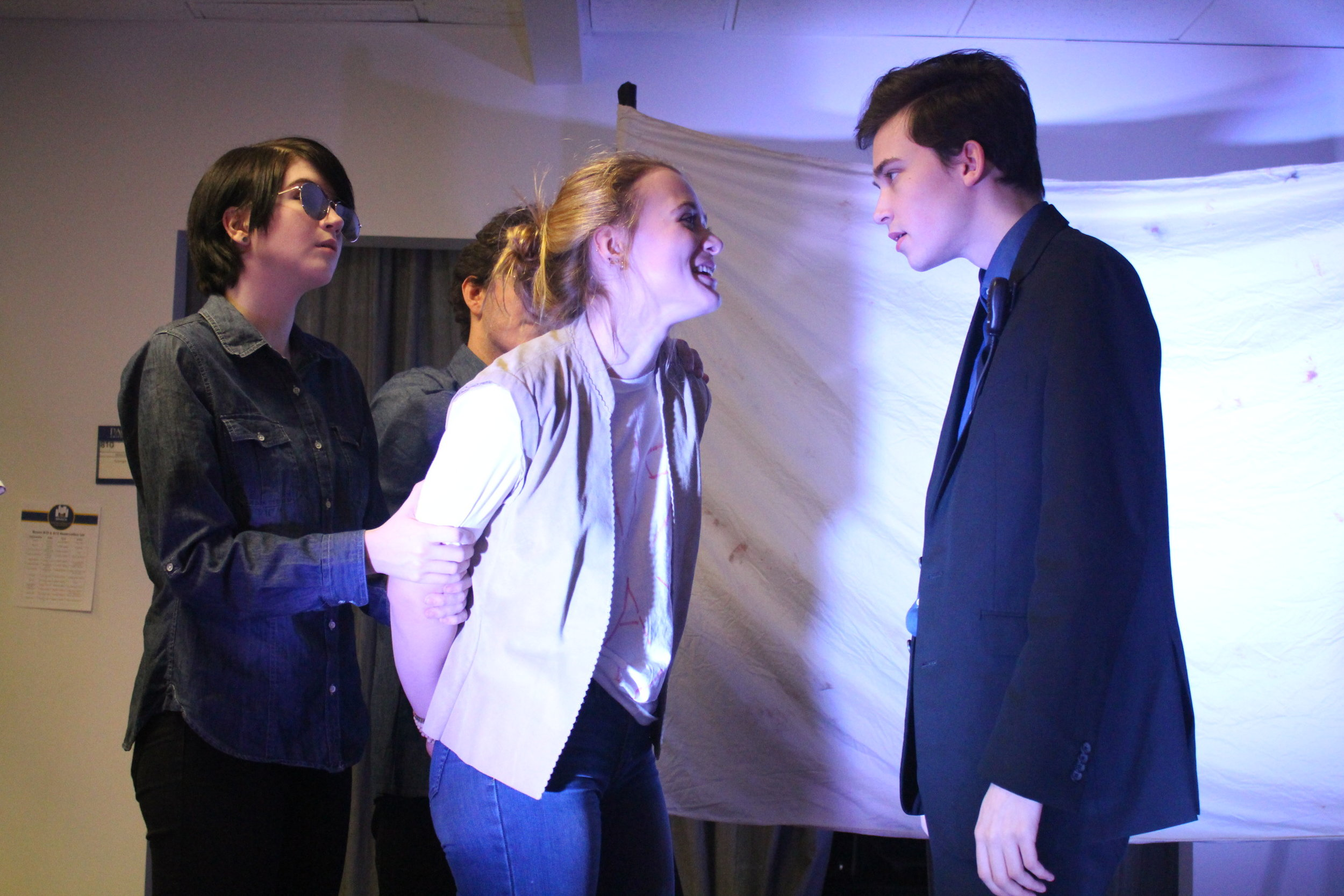 "(L to R) Cheyenne Anderson, Sam Korobkin, Ona Martini, and Taylor Larson in ""The Untold Yippie Project"" by Becca Schlossberg."