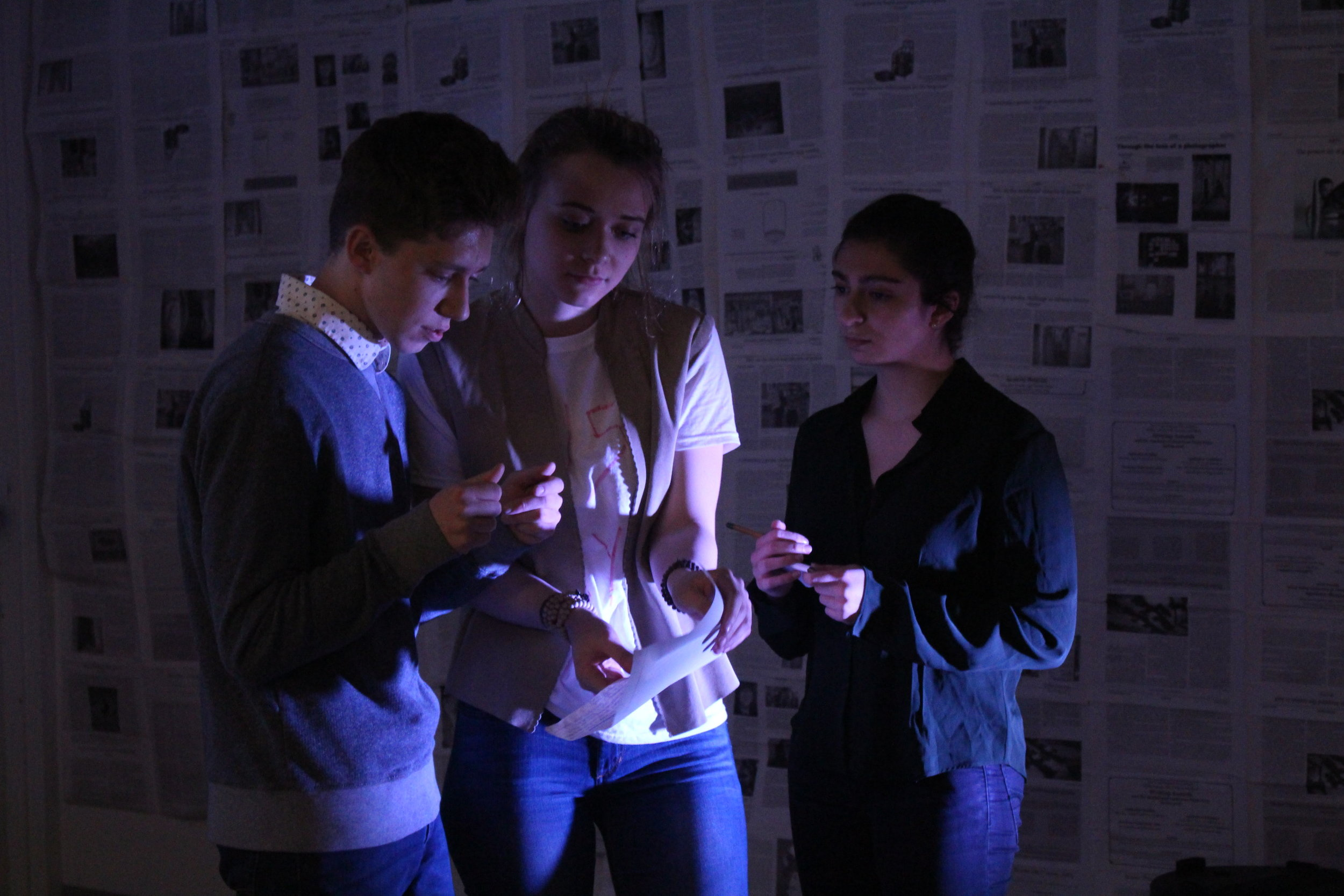 "(L to R) Austin Yoder, Ona Martini, and Sydney Rutigliano in ""The Untold Yippie Project"" by Becca Schlossberg."