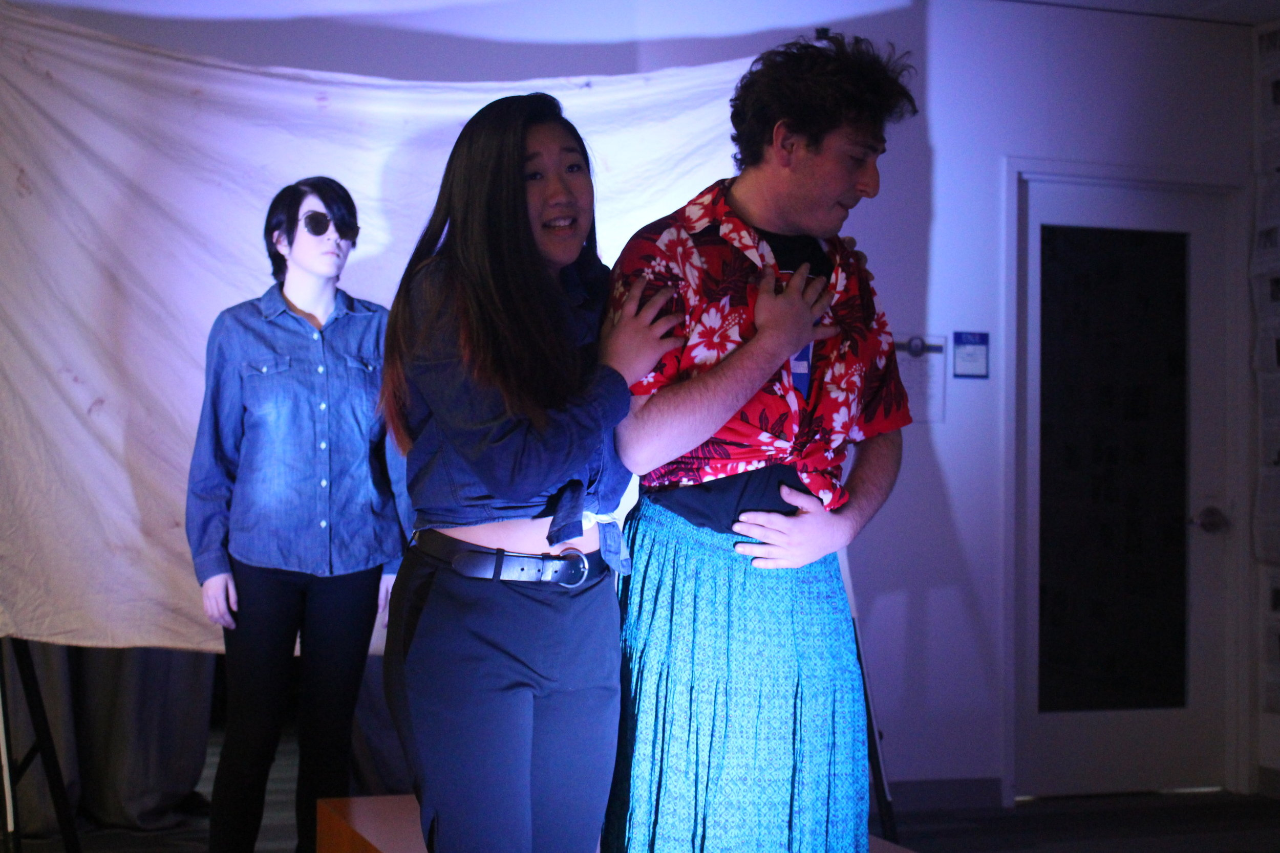 "(L to R) Cheyenne Anderson, Michelle Chan, and Sam Korobkin in ""The Untold Yippie Project"" by Becca Schlossberg."