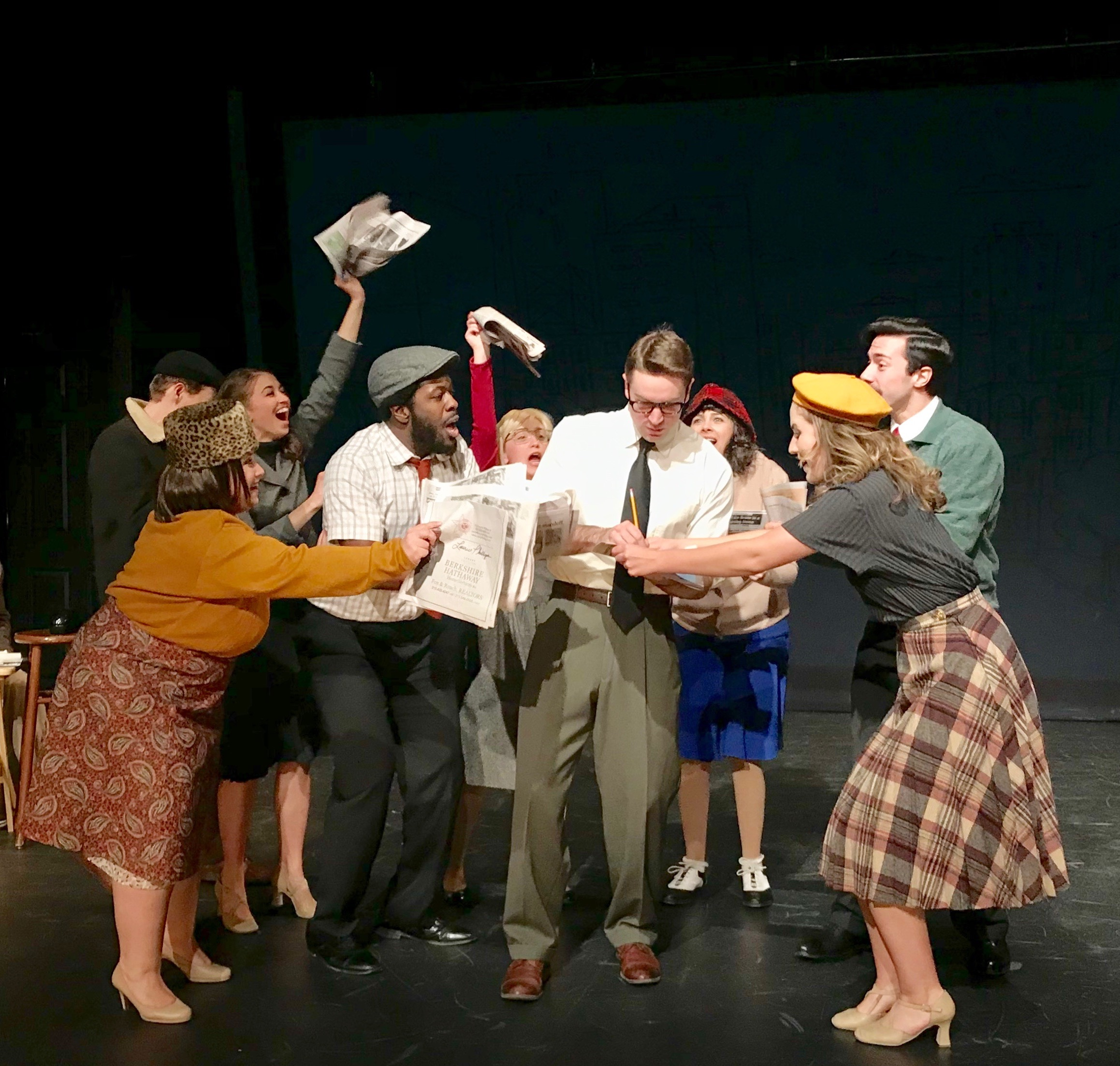 "(L to R) Kyle McClellan, Michelle Caniglia, Beth DeMichele, Cordara Newson, Jillian Mauro, Alex Temple Ward, April Lavalle, Monet Sabel, and Matthew Tiberi in ""Sparky."""