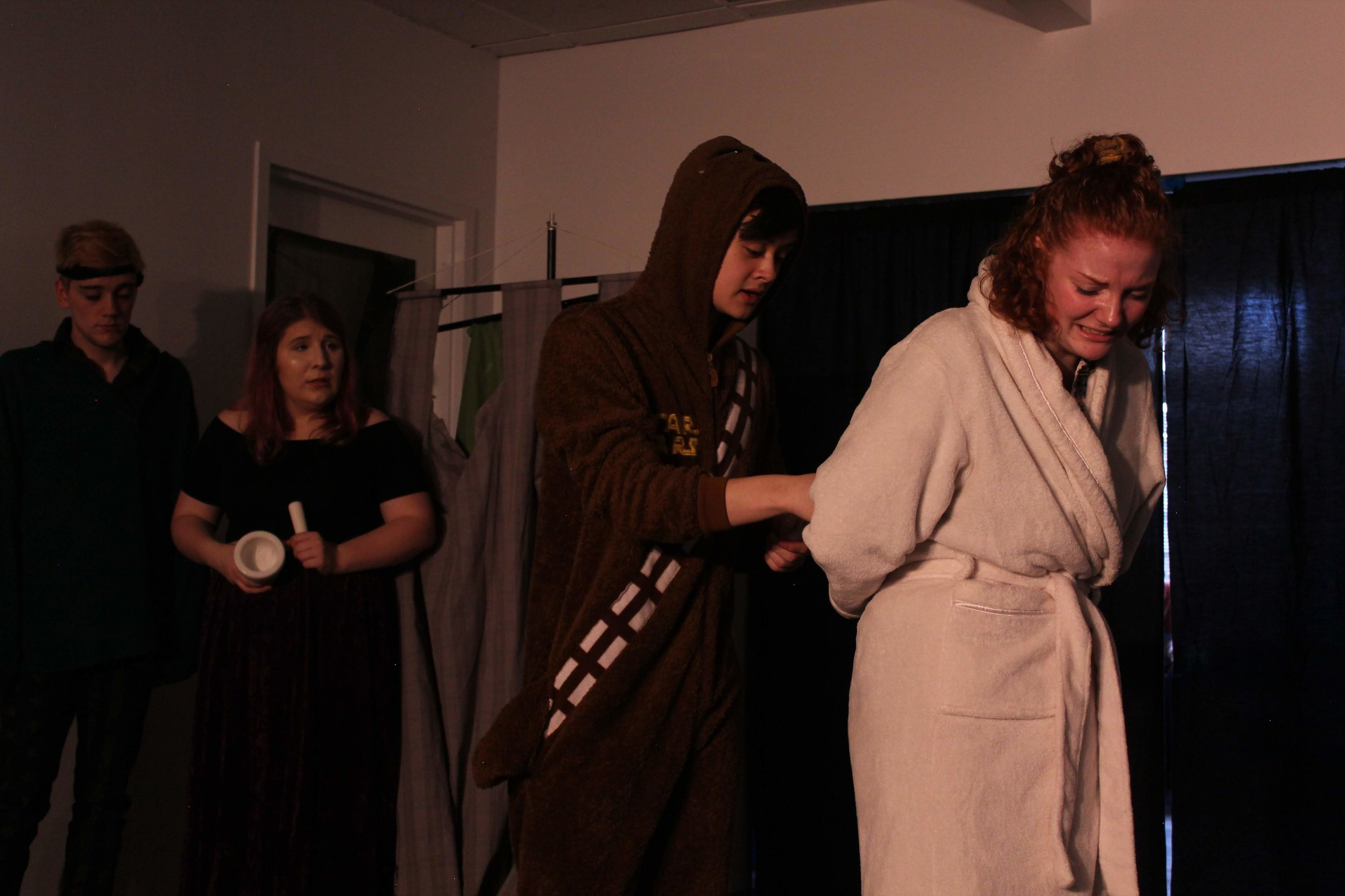 "(L to R) Jack Harding, Sarah Smagala, Alex Grimm, and Leah Sandow in ""Knight of the Burning Pestle"""