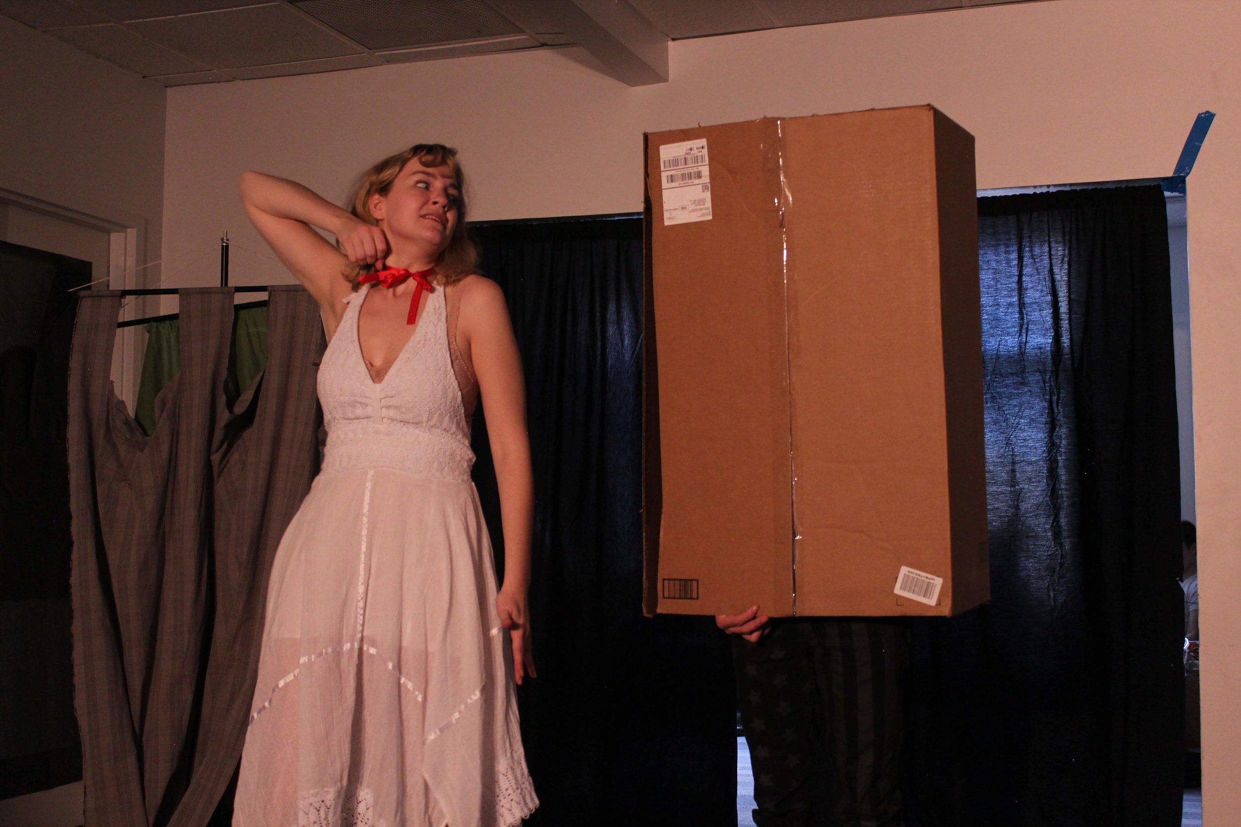 "(L to R) Olivia Valek and Jack Harding in ""Knight of the Burning Pestle"""