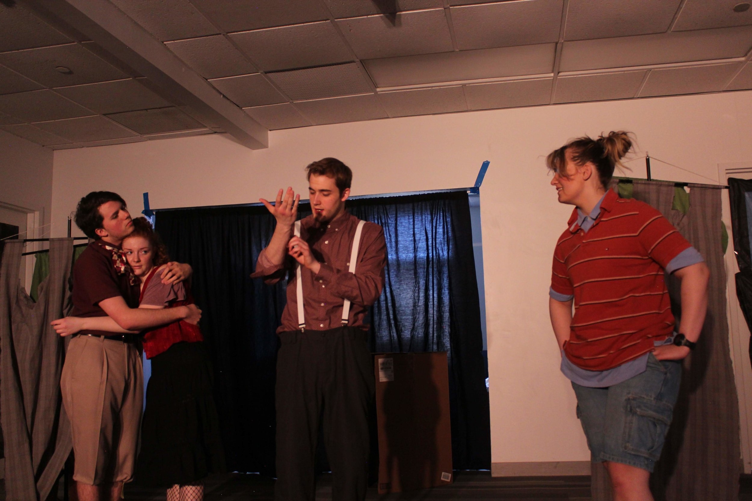 "(L to R) Colby Ourand, Leah Sandow, Jason Schlaman, and Sophia Carlin in ""Knight of the Burning Pestle"""