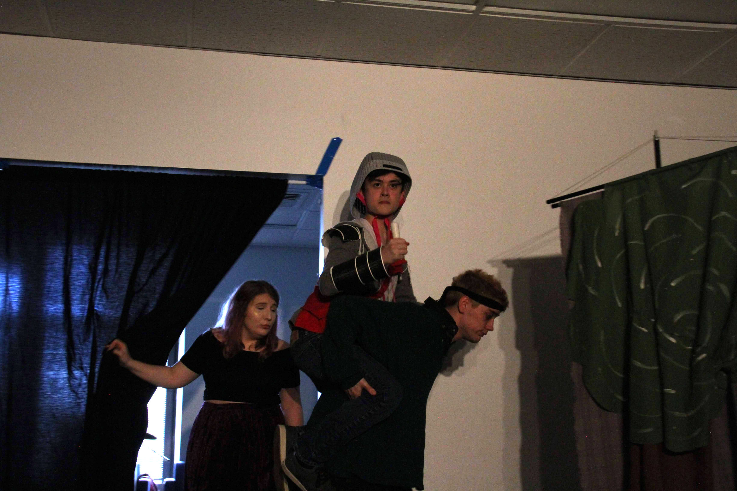 "(L to R) Sarah Smagala, Alex Grimm, and Jack Harding in ""Knight of the Burning Pestle"""