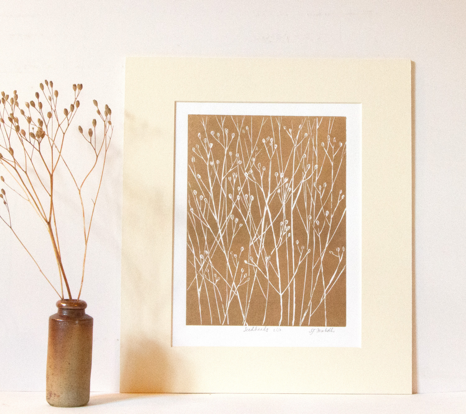 Nipplewort -  linoprint