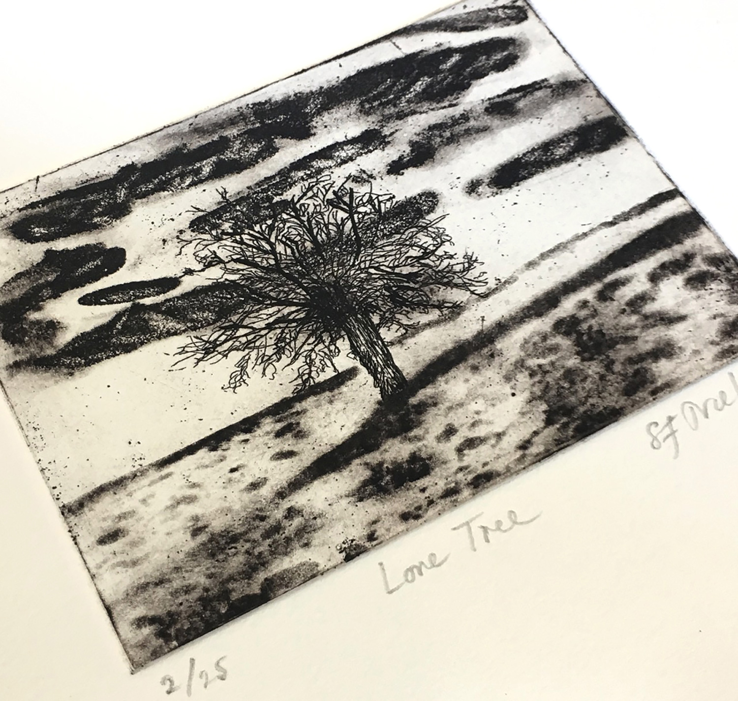 Lone Tree -  aquatint/drypoint