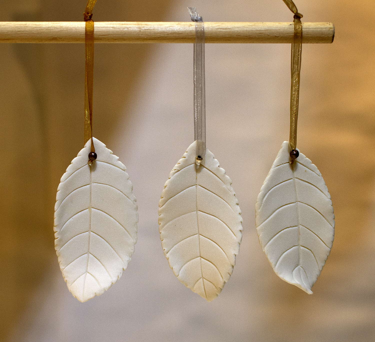 Beech leaves unglazed christmas decorations.jpg