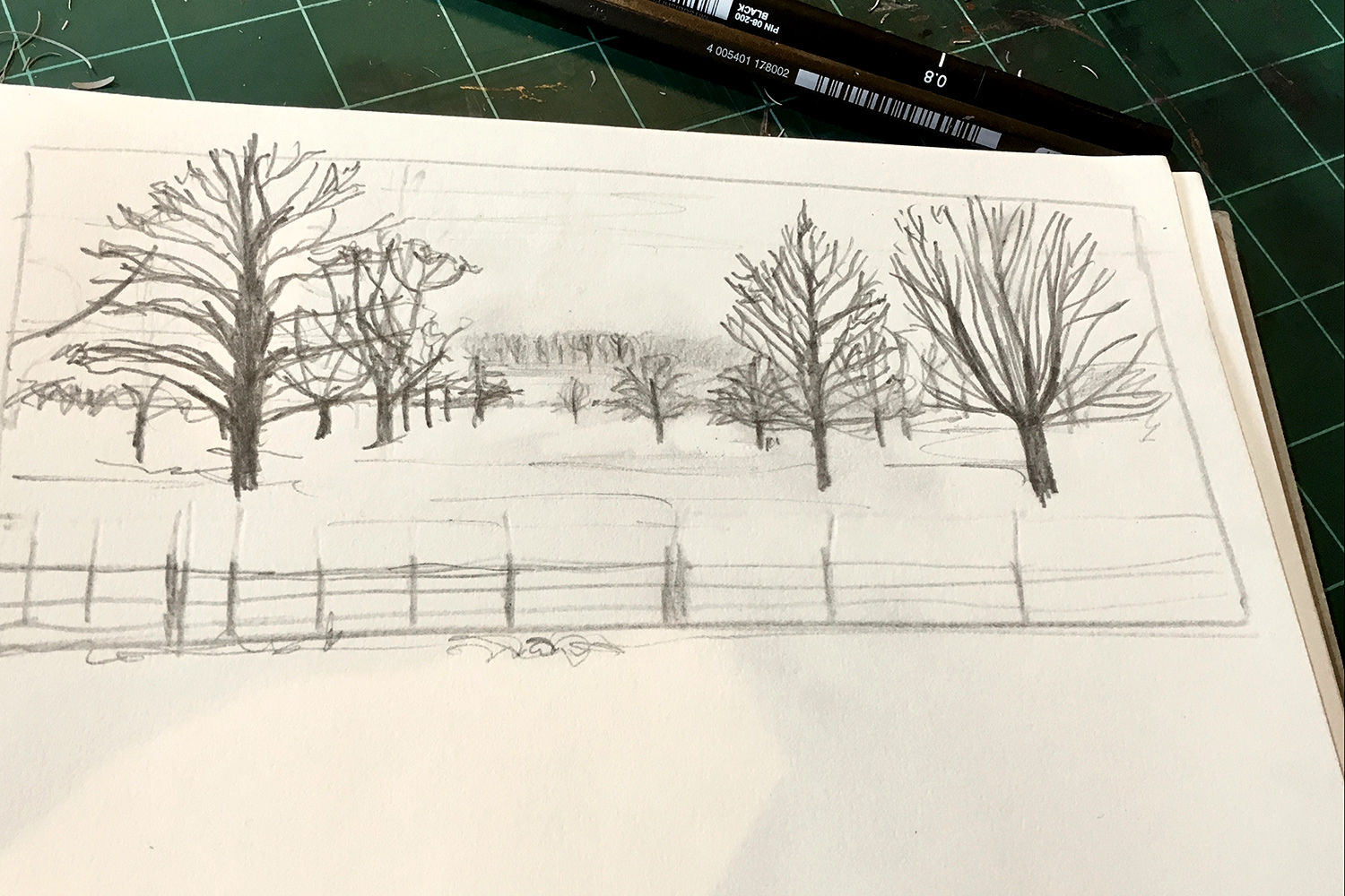 My initial pencil sketch of the Gunby landscape