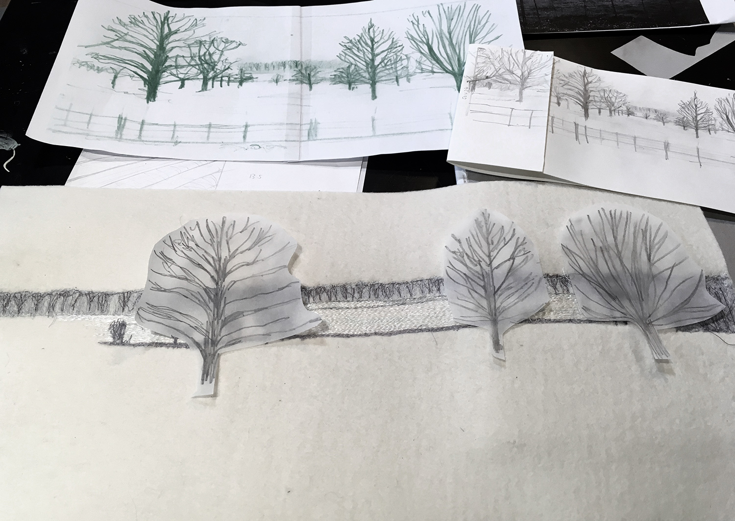 Planning the position of the trees in the picture
