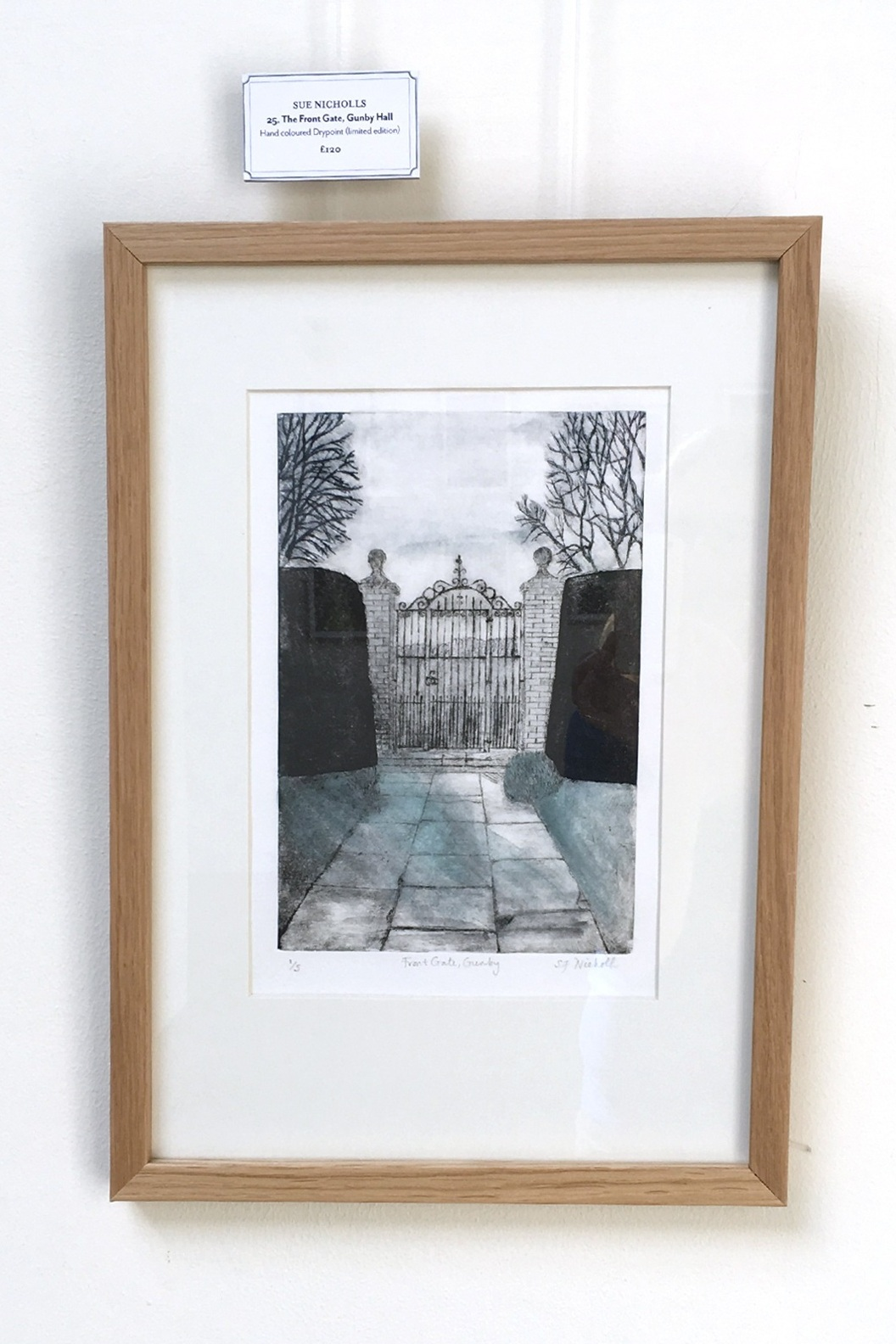 Gunby Hall Front Gates, Drypoint with watercolour
